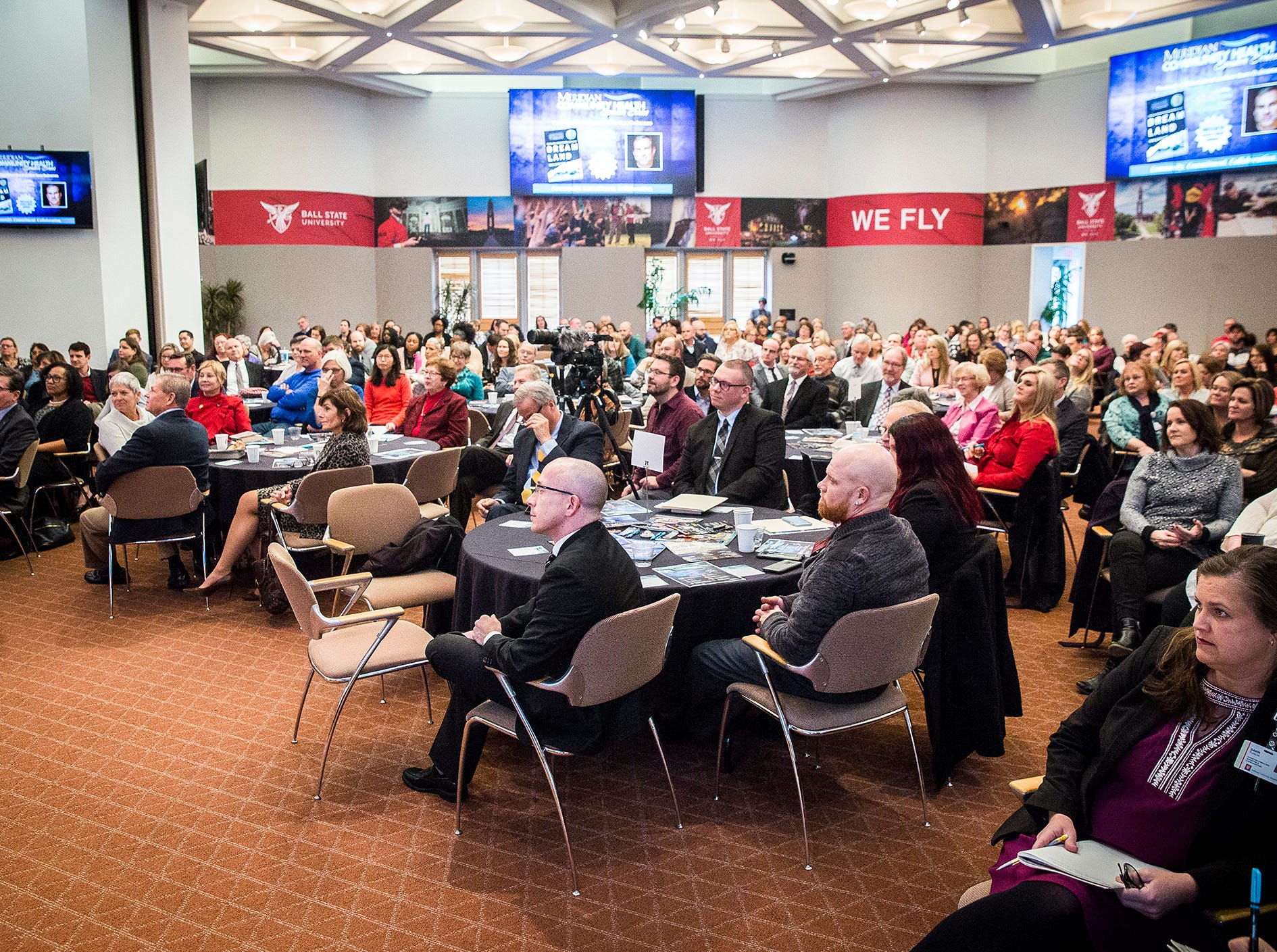 Hundreds attended the Meridian Community Health Speaker Series panel discussion on the opiate crisis which included author Sam Quinones and perspectives from local community leaders at the Ball State Alumni Center Thursday, Nov. 29, 2018.