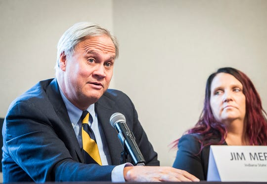 Sen. Jim Merritt speaks about the lack of resources the state has to combat the opiate epidemic during a Meridian Community Health Speaker Series panel discussion at the Ball State Alumni Center Thursday, Nov. 29, 2018.