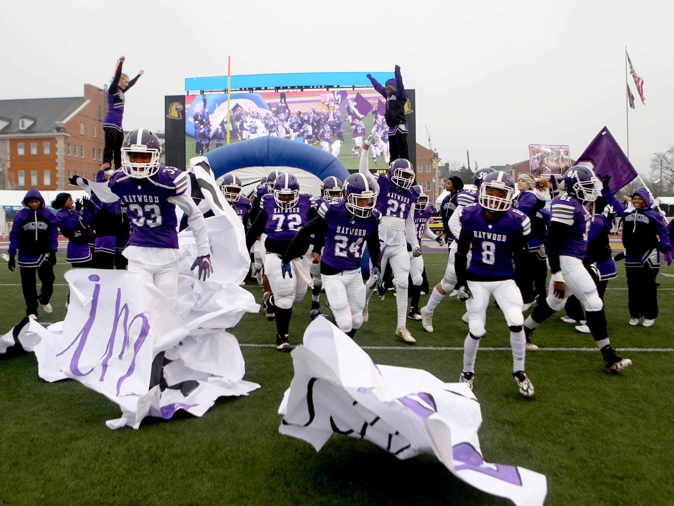 Haywood players enter the field before the Class 4A BlueCross Bowl state championship Thursday, Nov. 29, 2018, at Tennessee Tech's Tucker Stadium in Cookeville, Tenn. against Greeneville.