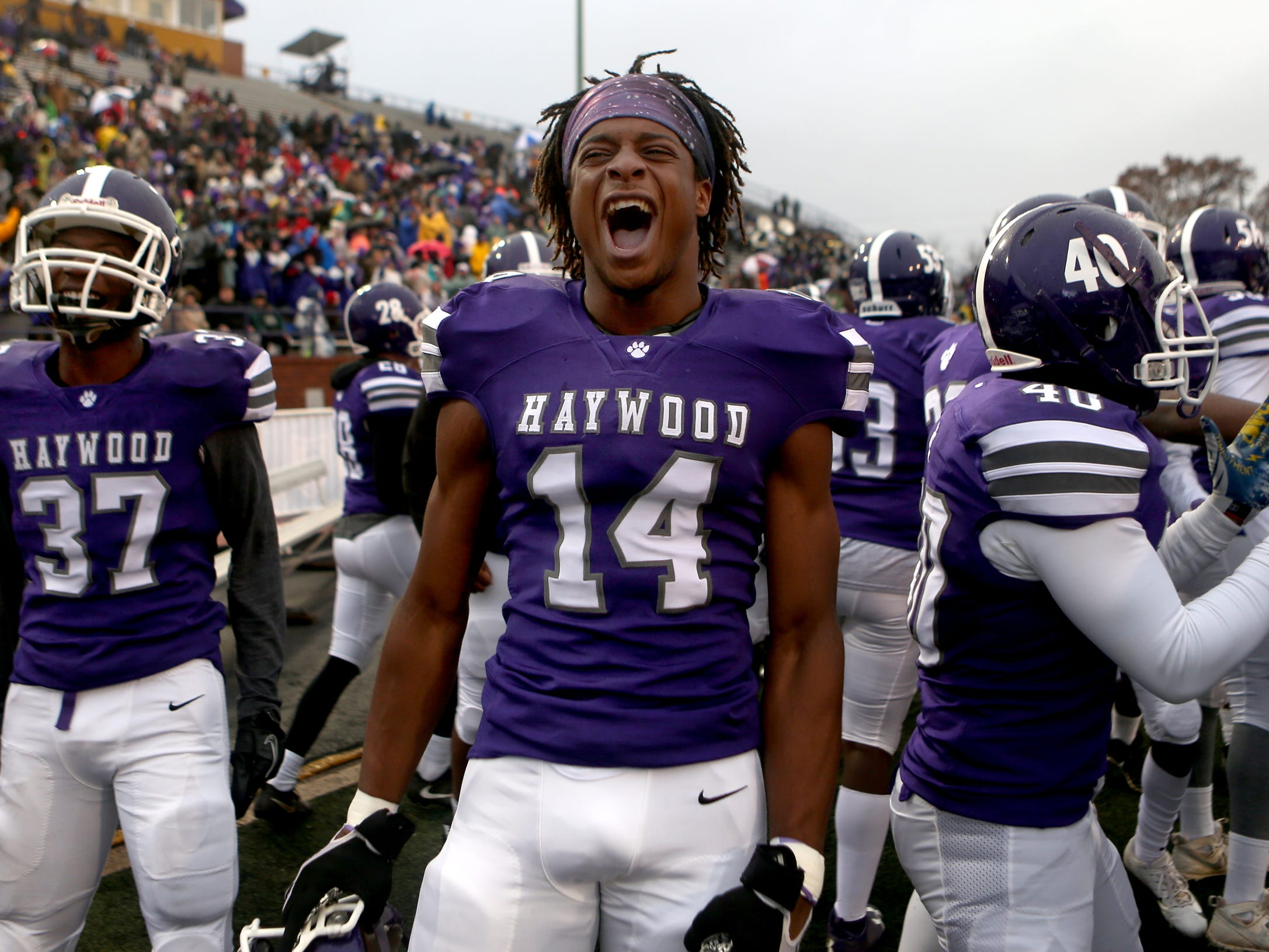 Haywood's  Devin Miller (37), Haywood's  Calen Johnson (14) and Haywood's Trondarius Rutherford (40) all cheer on the sidelines during the Class 4A BlueCross Bowl state championship against Greeneville on Thursday, Nov. 29, 2018, at Tennessee Tech's Tucker Stadium in Cookeville, Tenn.