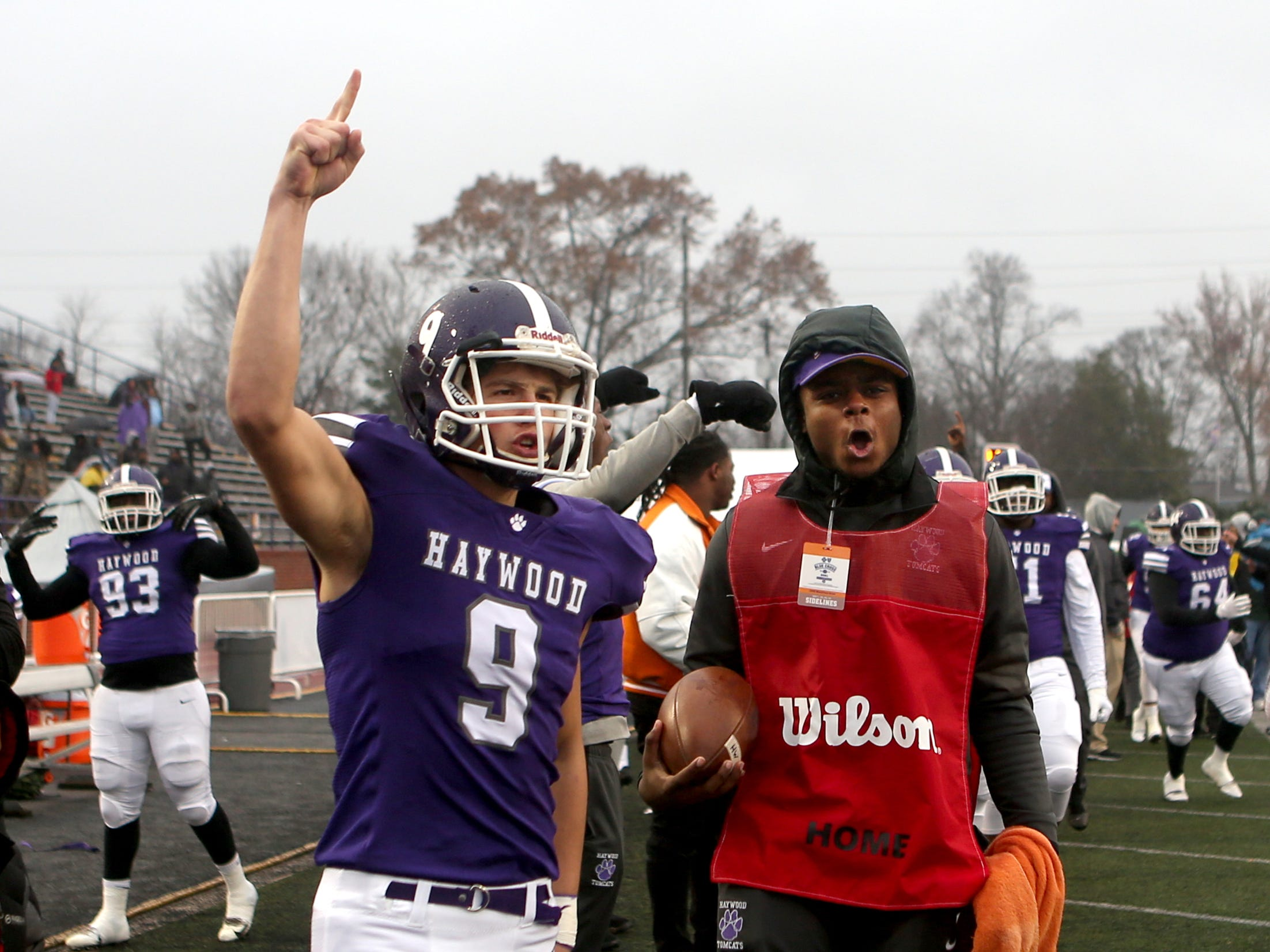 Haywood's  Andrew Stanley (9) celebrates a touchdown made by Haywood's  Deyondrius Hines (2) during the Class 4A BlueCross Bowl state championship Thursday, Nov. 29, 2018, at Tennessee Tech's Tucker Stadium in Cookeville, Tenn against Greeneville.