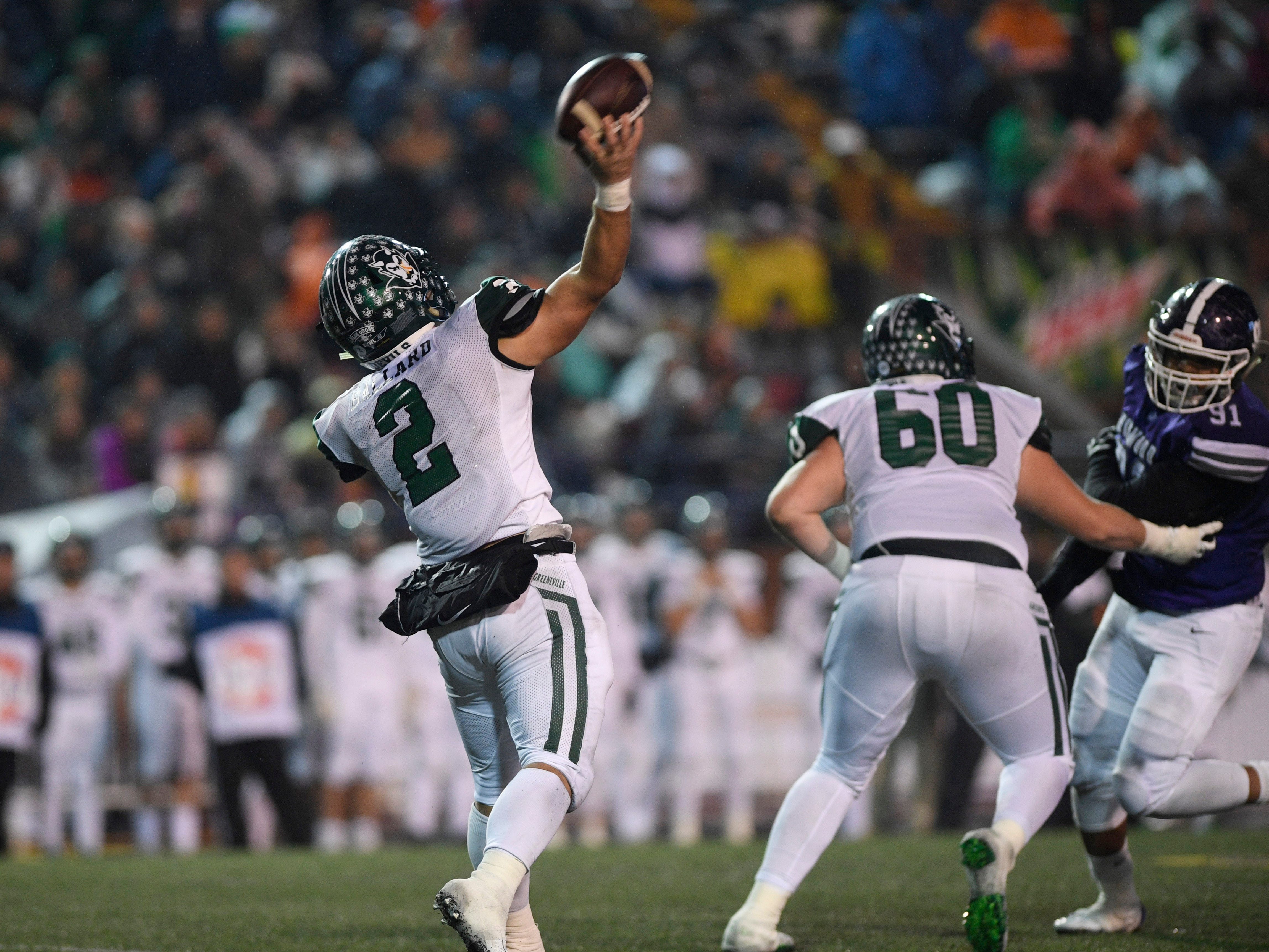 Greeneville's Cade Ballard (2) throws a pass during the second half of the Class 4A BlueCross Bowl state championship at Tennessee Tech's Tucker Stadium in Cookeville, Tenn., on Thursday, Nov. 29, 2018.