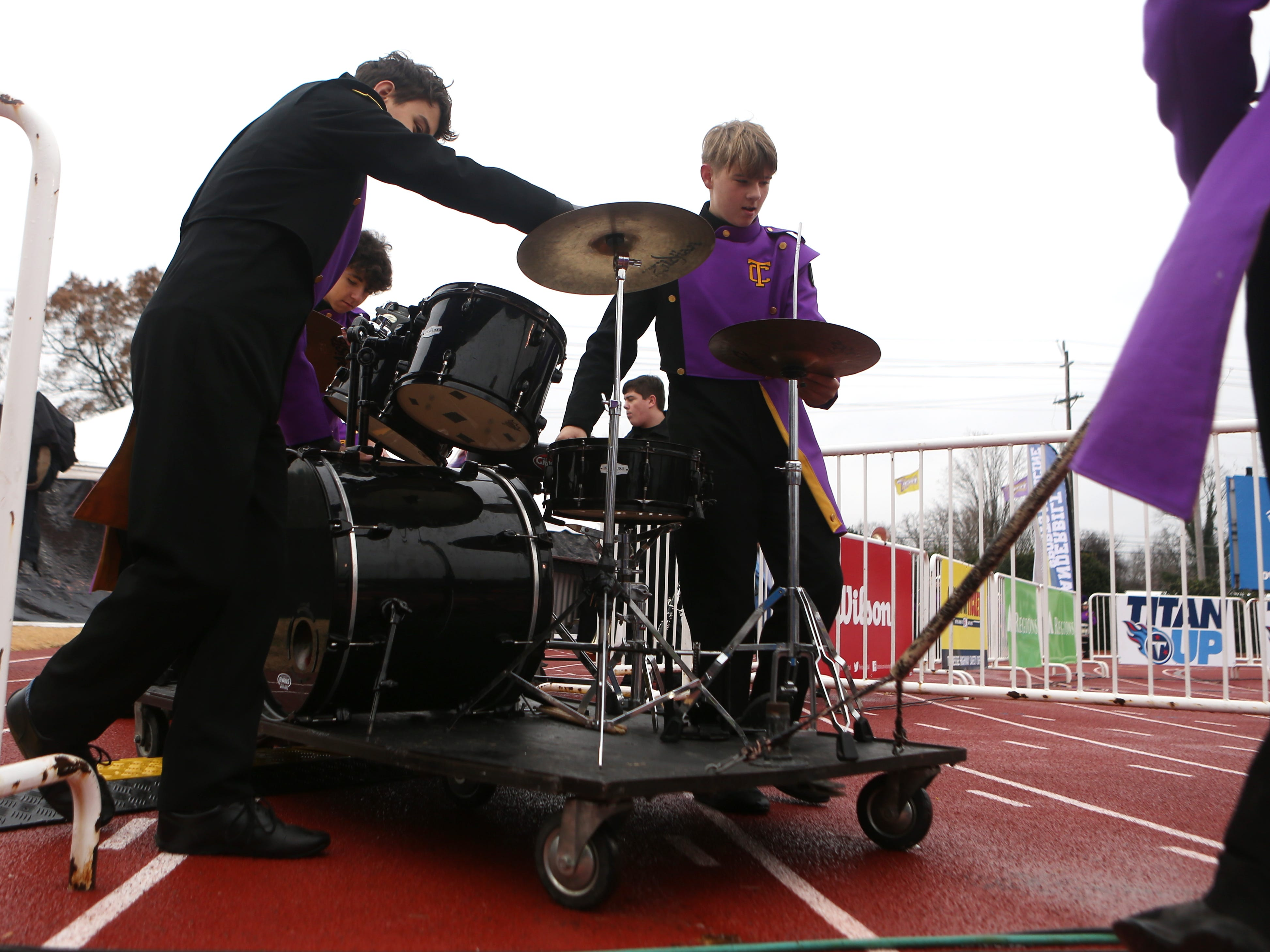 Trousdale band members drag out equipment for halftime at the Class 2A BlueCross Bowl state championship at Tennessee Tech's Tucker Stadium in Cookeville, Tenn., on Thursday, Nov. 29, 2018.