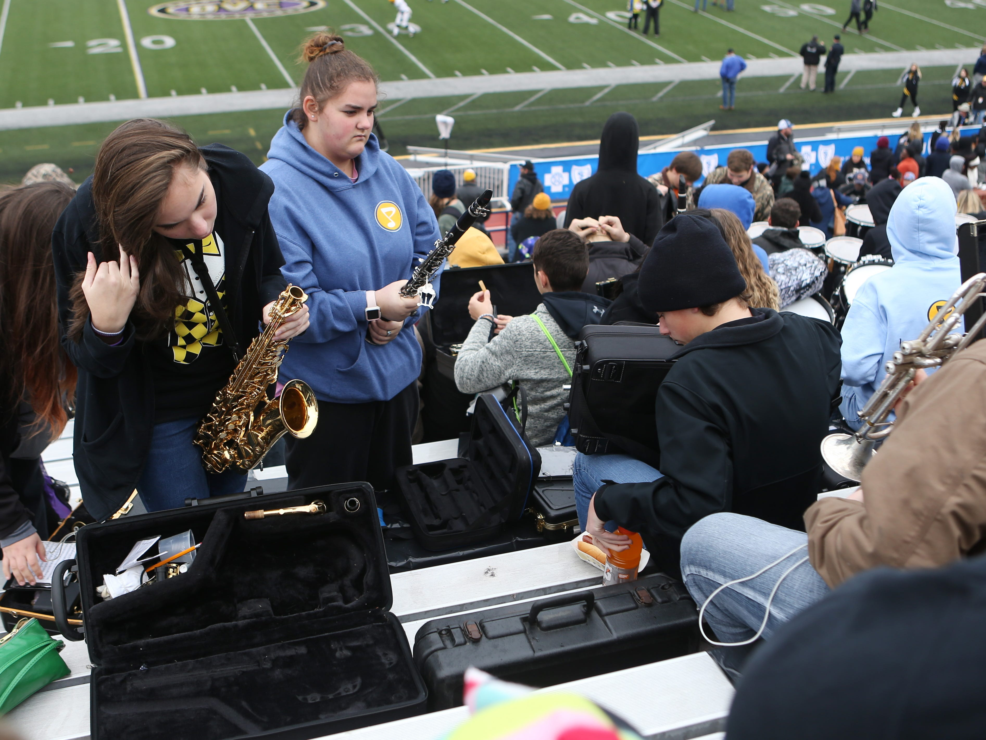Peabody band members set up before the Class 2A BlueCross Bowl state championship at Tennessee Tech's Tucker Stadium in Cookeville, Tenn., on Thursday, Nov. 29, 2018.