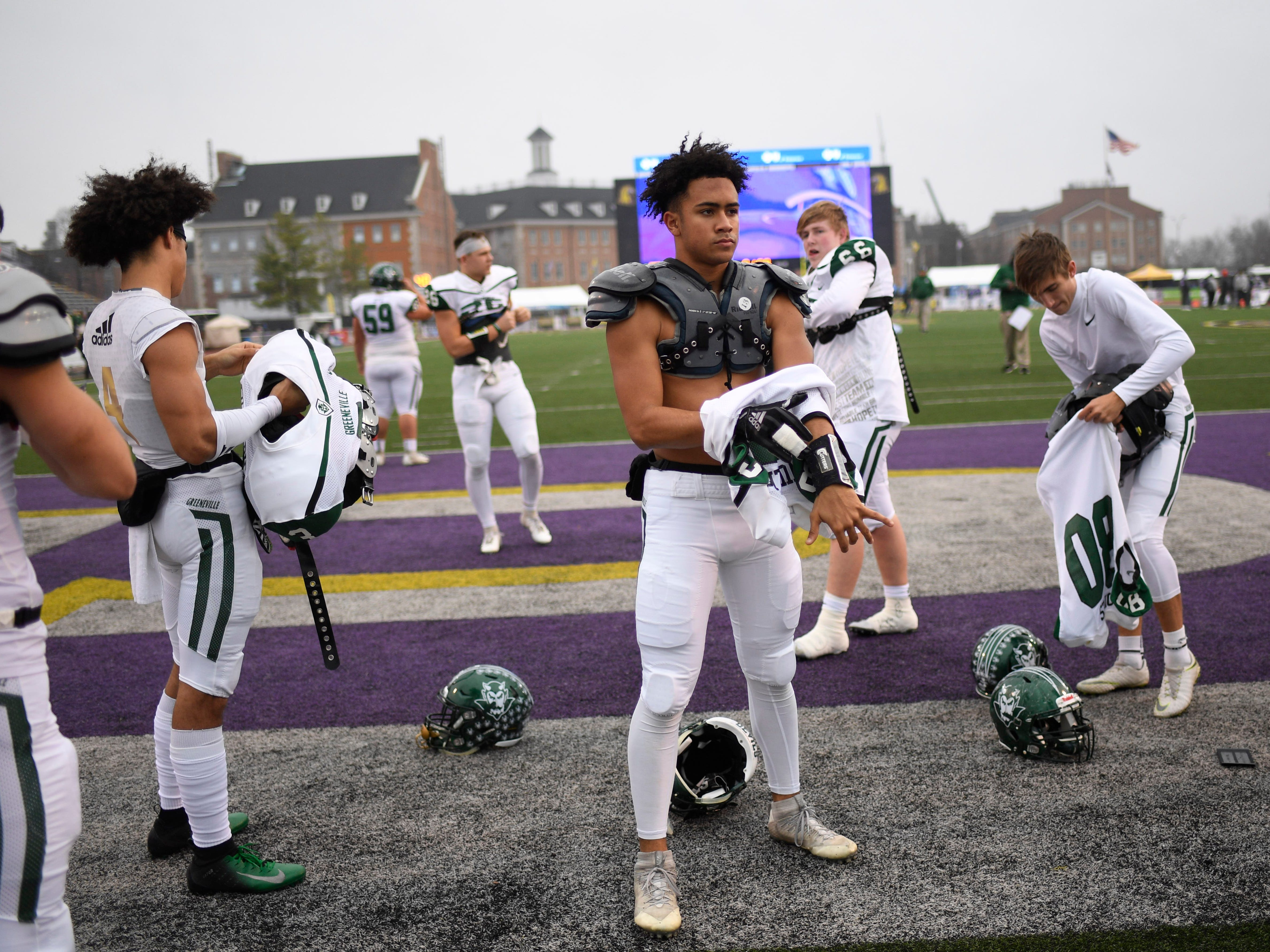 Greeneville players dress for the Class 4A BlueCross Bowl state championship at Tennessee Tech's Tucker Stadium in Cookeville, Tenn., on Thursday, Nov. 29, 2018.