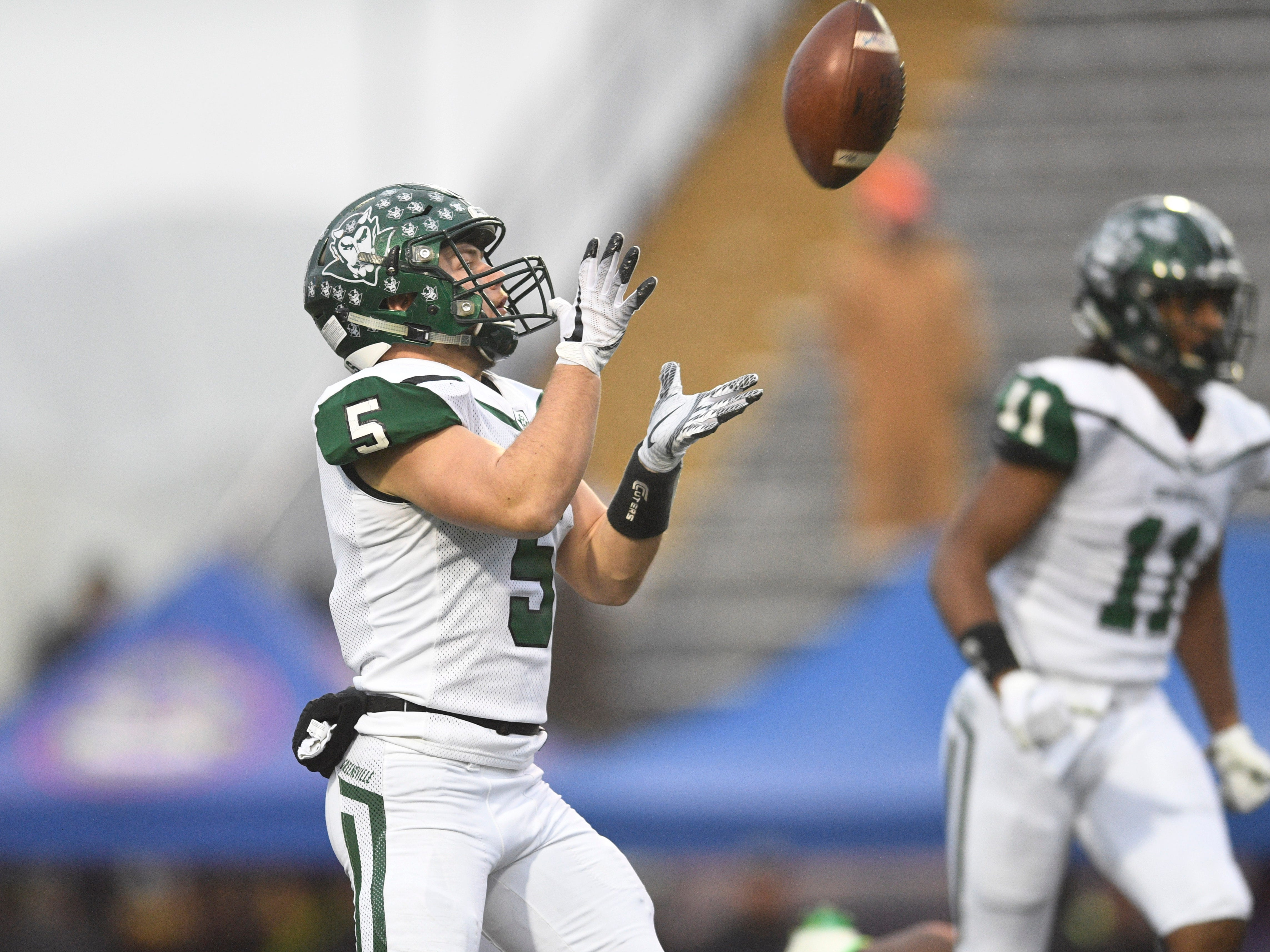 Greeneville's Garrin Shuffler (5) catches a punt in the first quarter of the Class 4A BlueCross Bowl state championship at Tennessee Tech's Tucker Stadium in Cookeville, Tenn., on Thursday, Nov. 29, 2018.