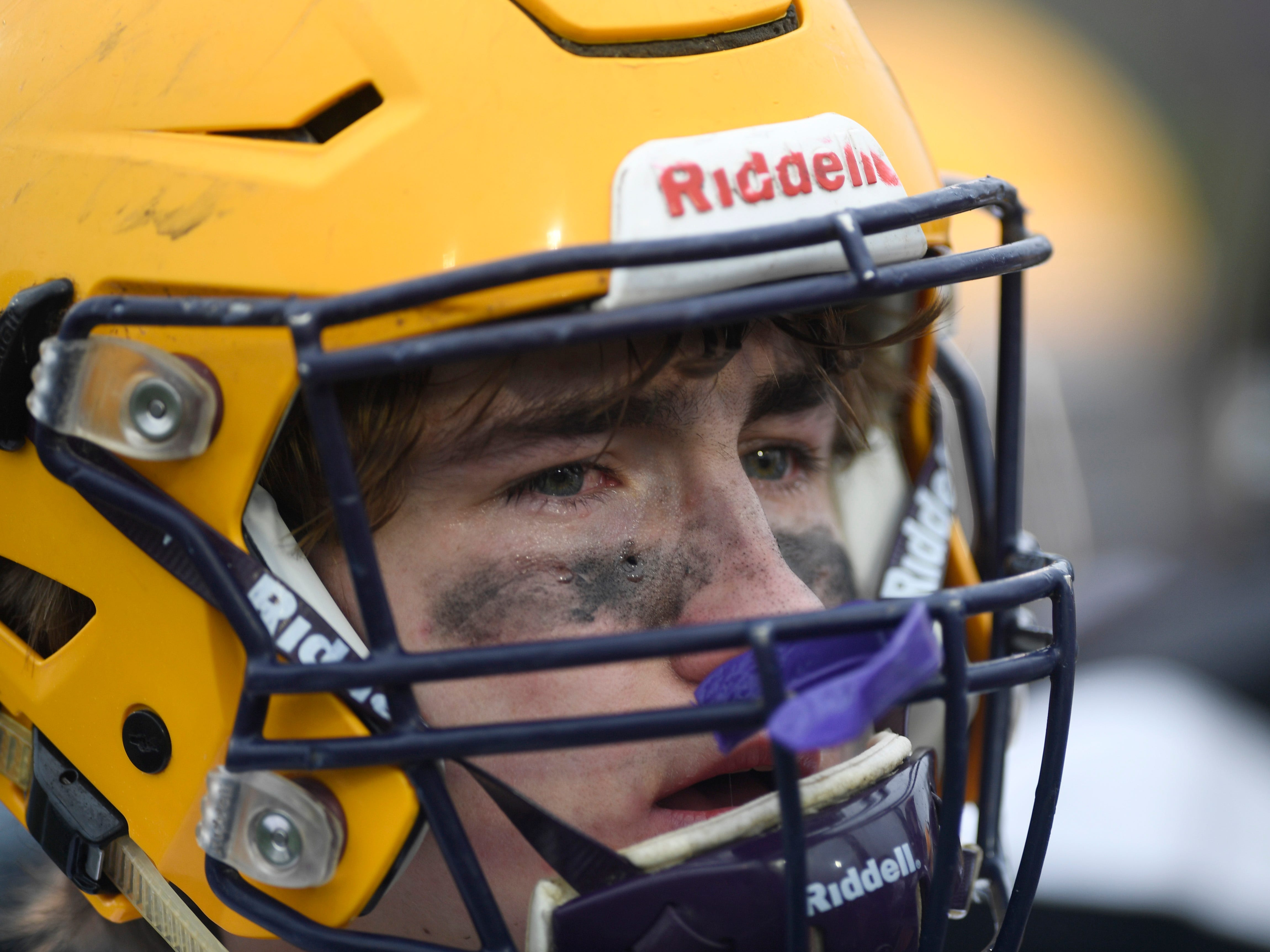 Trousdale's Benjamin Chumley (11) reacts after the team's loss in the Class 2A BlueCross Bowl state championship at Tennessee Tech's Tucker Stadium in Cookeville, Tenn., on Thursday, Nov. 29, 2018.