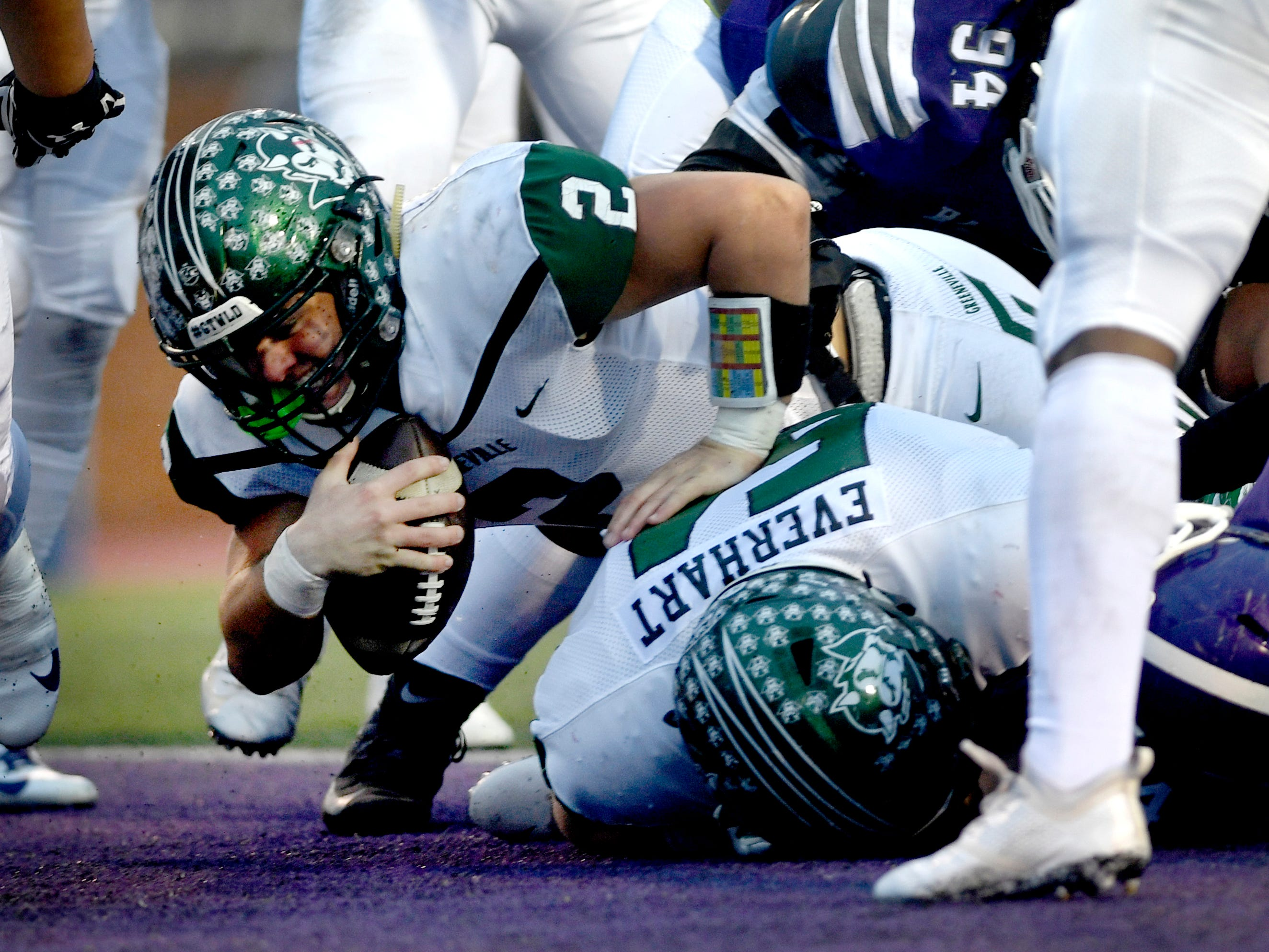Greeneville's Cade Ballard (2) scores a touchdown against Haywood during the Class 4A BlueCross Bowl state championship Thursday, Nov. 29, 2018, at Tennessee Tech's Tucker Stadium in Cookeville, Tenn.