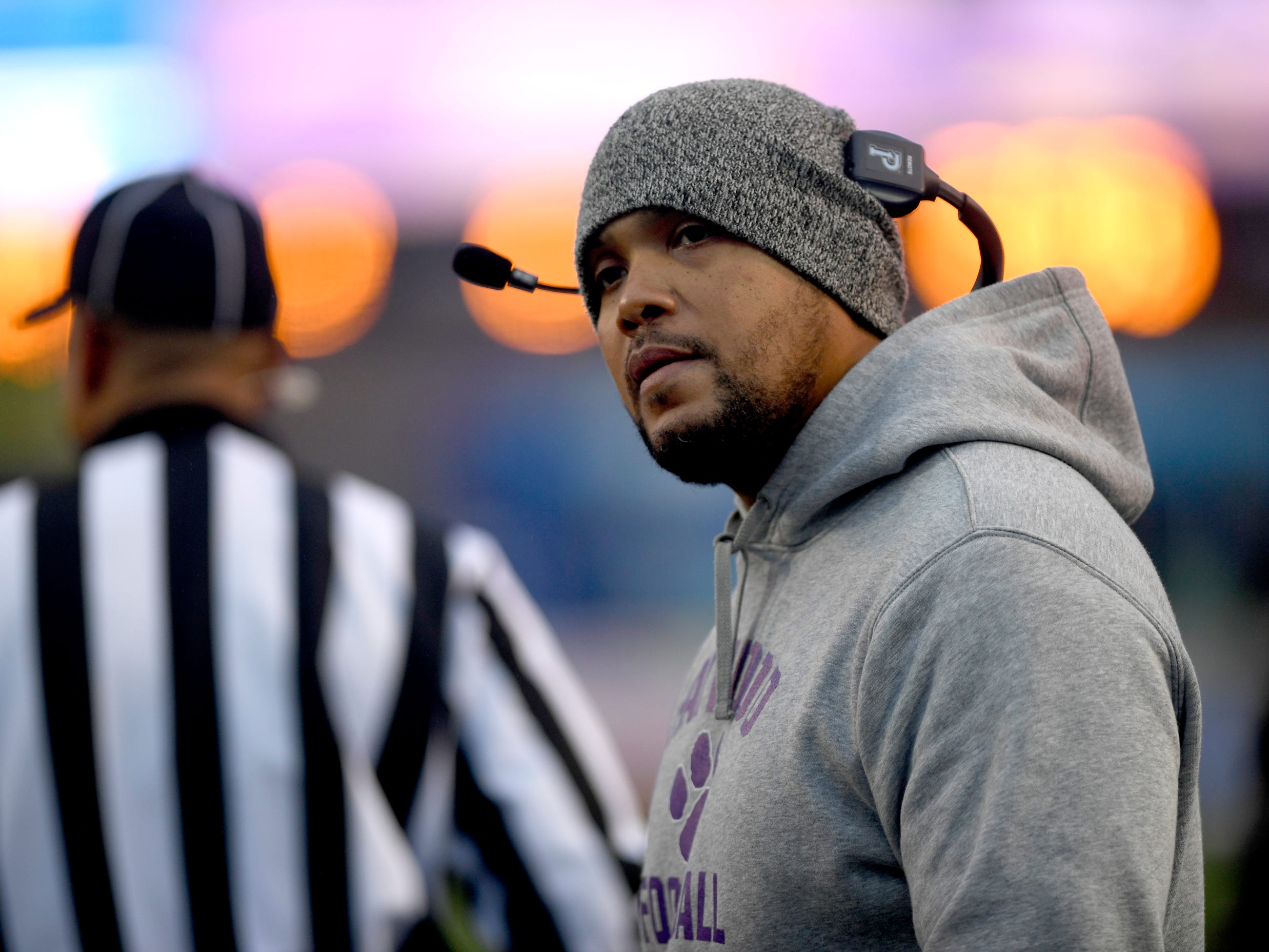 Haywood's head coach Steve Hookfin on the sidelines during the Class 4A BlueCross Bowl state championship game against Greeneville, Thursday, Nov. 29, 2018, at Tennessee Tech's Tucker Stadium in Cookeville, Tenn.