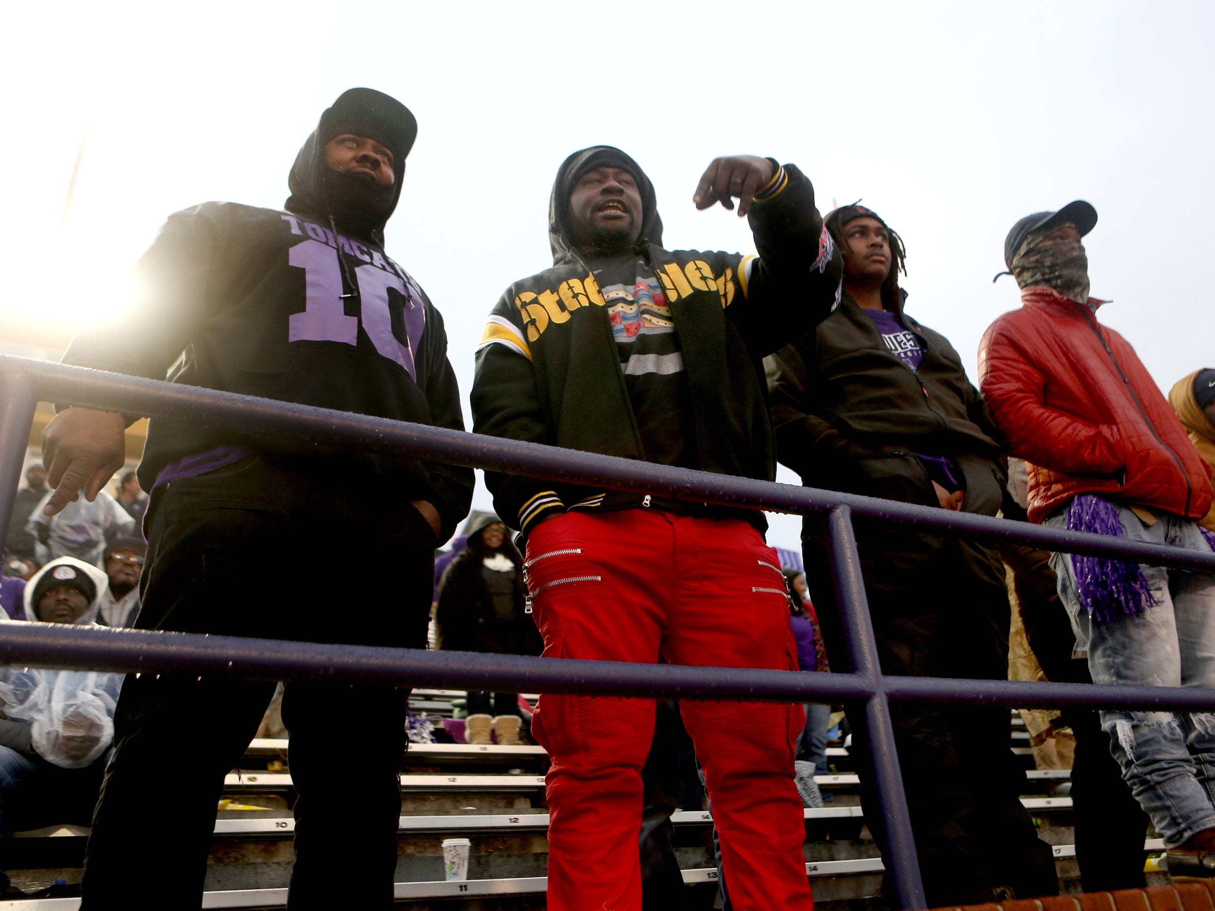 Haywood fans watch the Class 4A BlueCross Bowl state championship game between Haywood and Greeneville Thursday, Nov. 29, 2018, at Tennessee Tech's Tucker Stadium in Cookeville, Tenn.