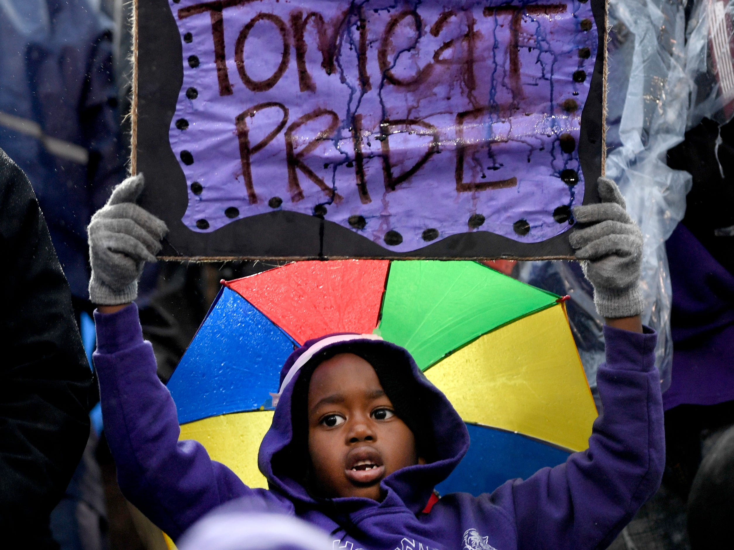 A Haywood fan holds up a sign in the rain during the Class 4A BlueCross Bowl state championship game against Greenville Thursday, Nov. 29, 2018, at Tennessee Tech's Tucker Stadium in Cookeville, Tenn.