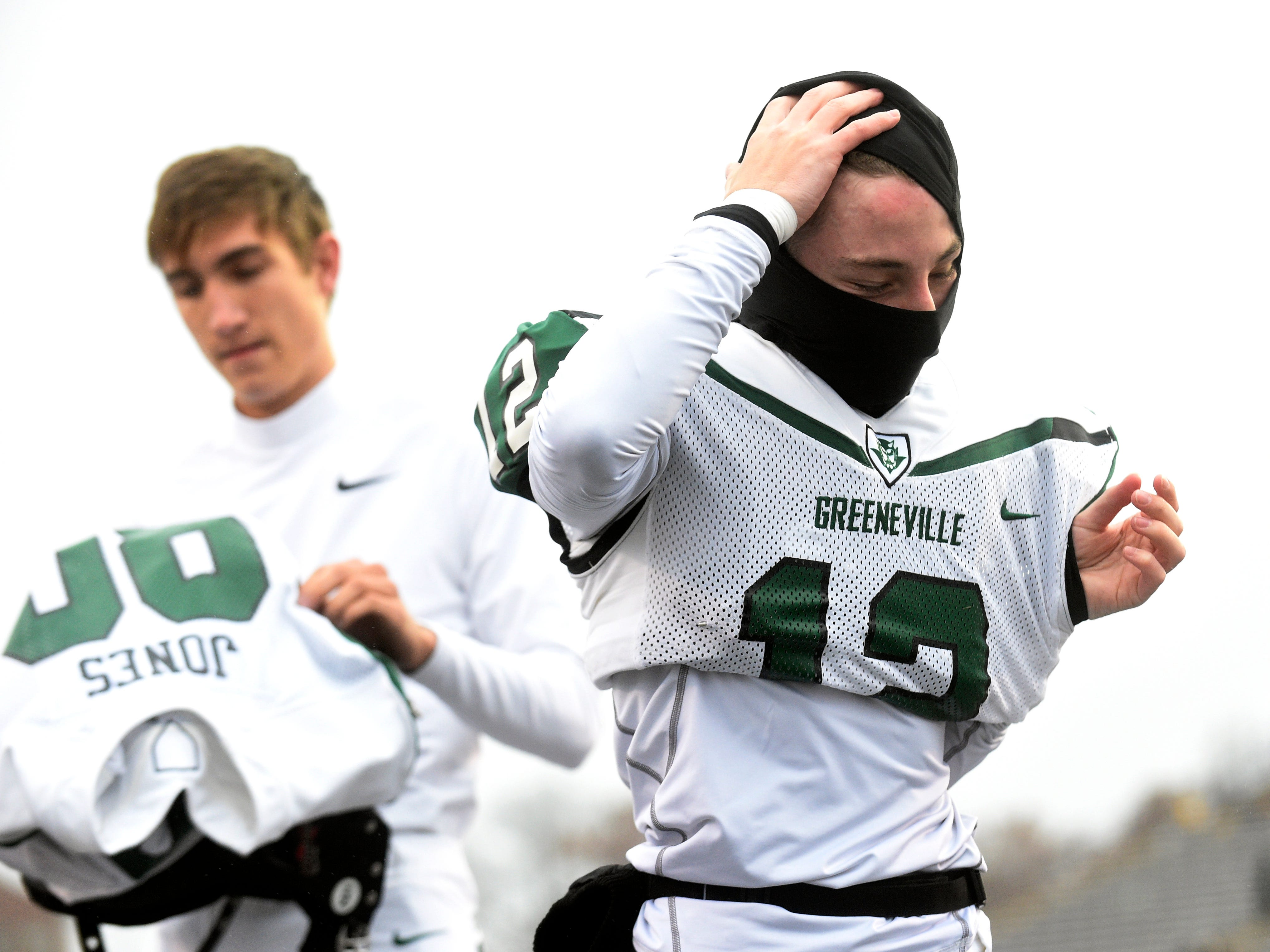 Greeneville's Josh Wallin (12) gets ready for the Class 4A BlueCross Bowl state championship at Tennessee Tech's Tucker Stadium in Cookeville, Tenn., on Thursday, Nov. 29, 2018.