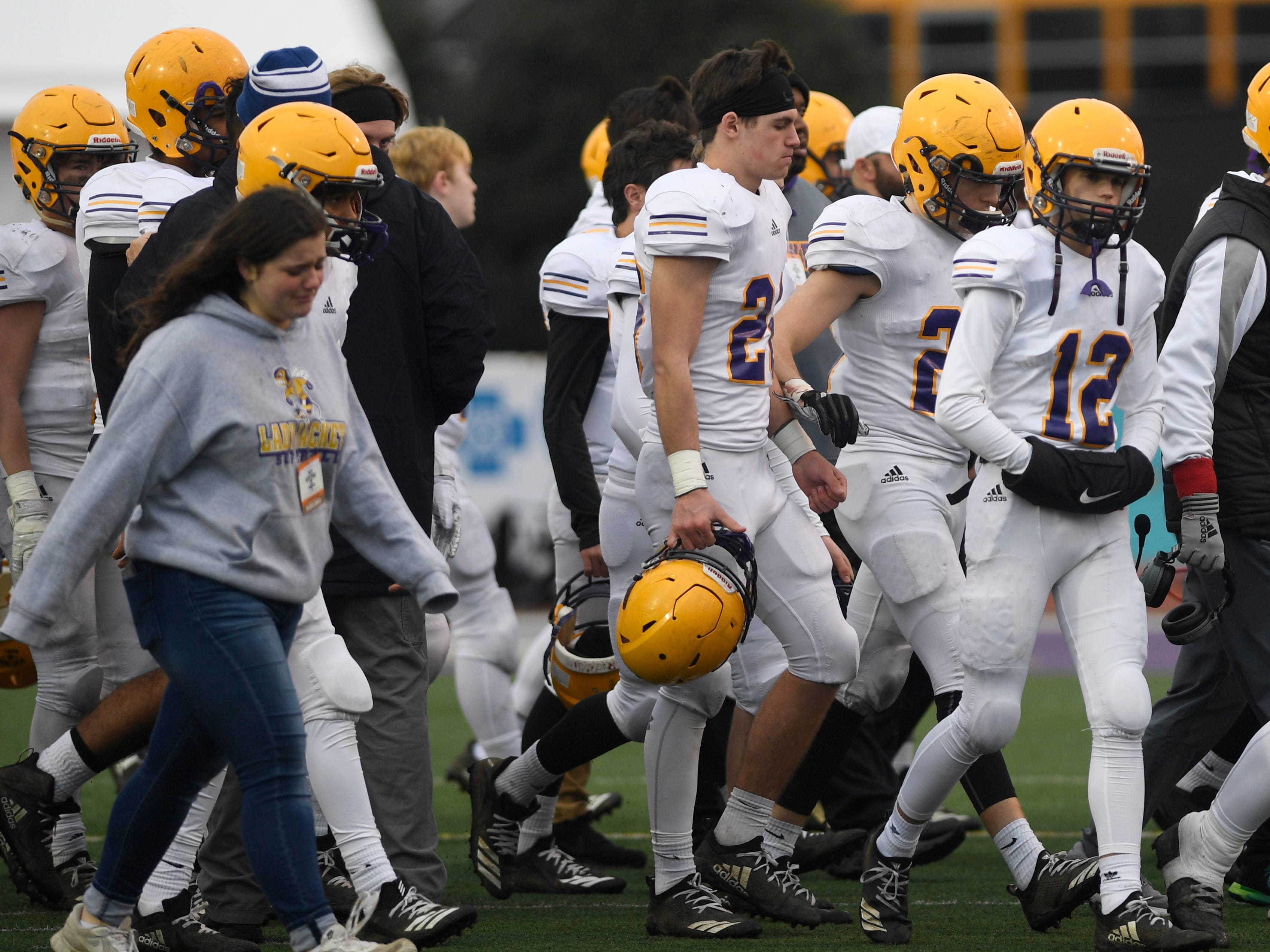 Trousdale walks off the field after the team's loss to Peabody in the Class 2A BlueCross Bowl state championship at Tennessee Tech's Tucker Stadium in Cookeville, Tenn., on Thursday, Nov. 29, 2018.