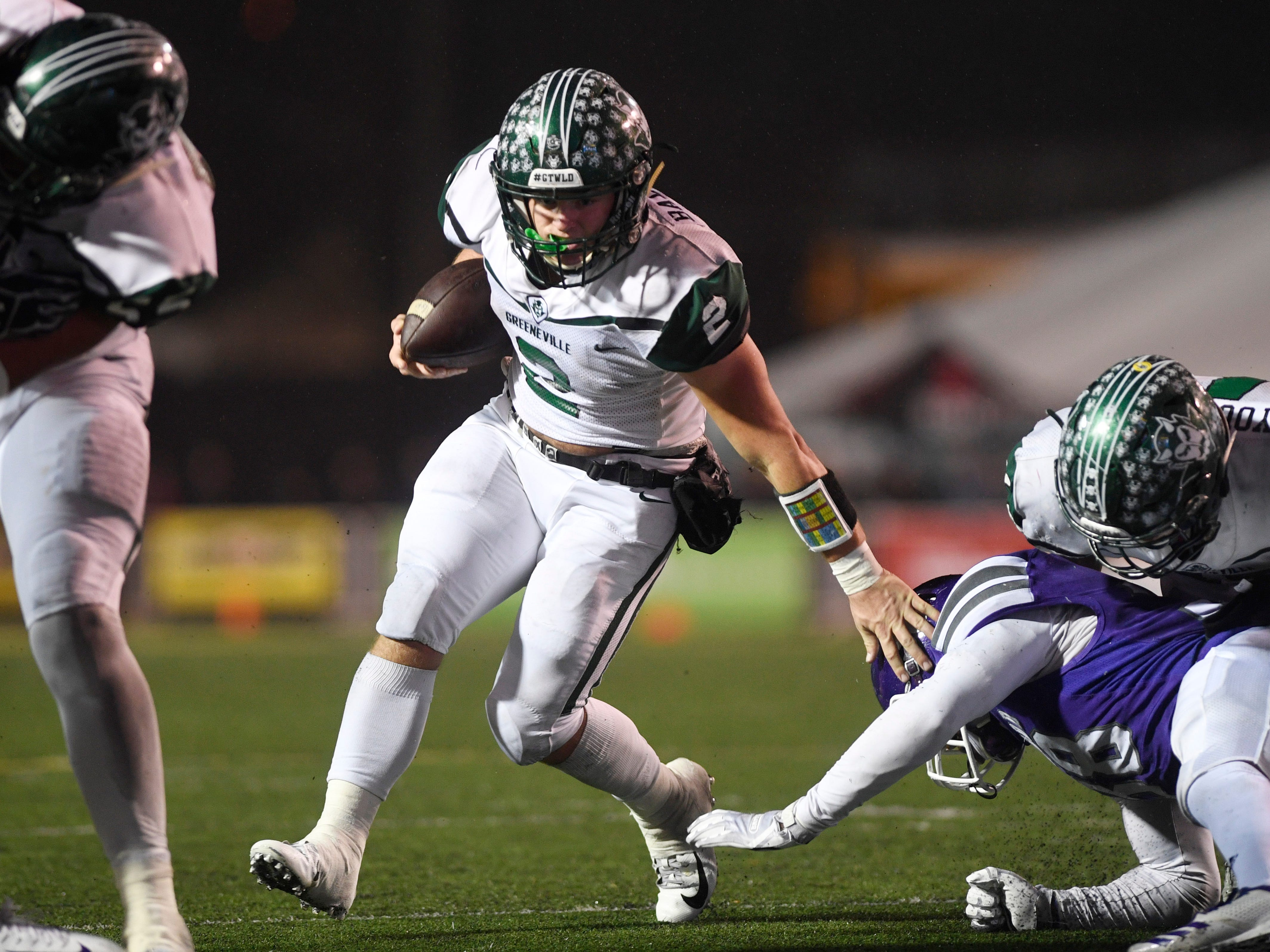 Greeneville's Cade Ballard (2) runs with the ball during the second half of the Class 4A BlueCross Bowl state championship at Tennessee Tech's Tucker Stadium in Cookeville, Tenn., on Thursday, Nov. 29, 2018.