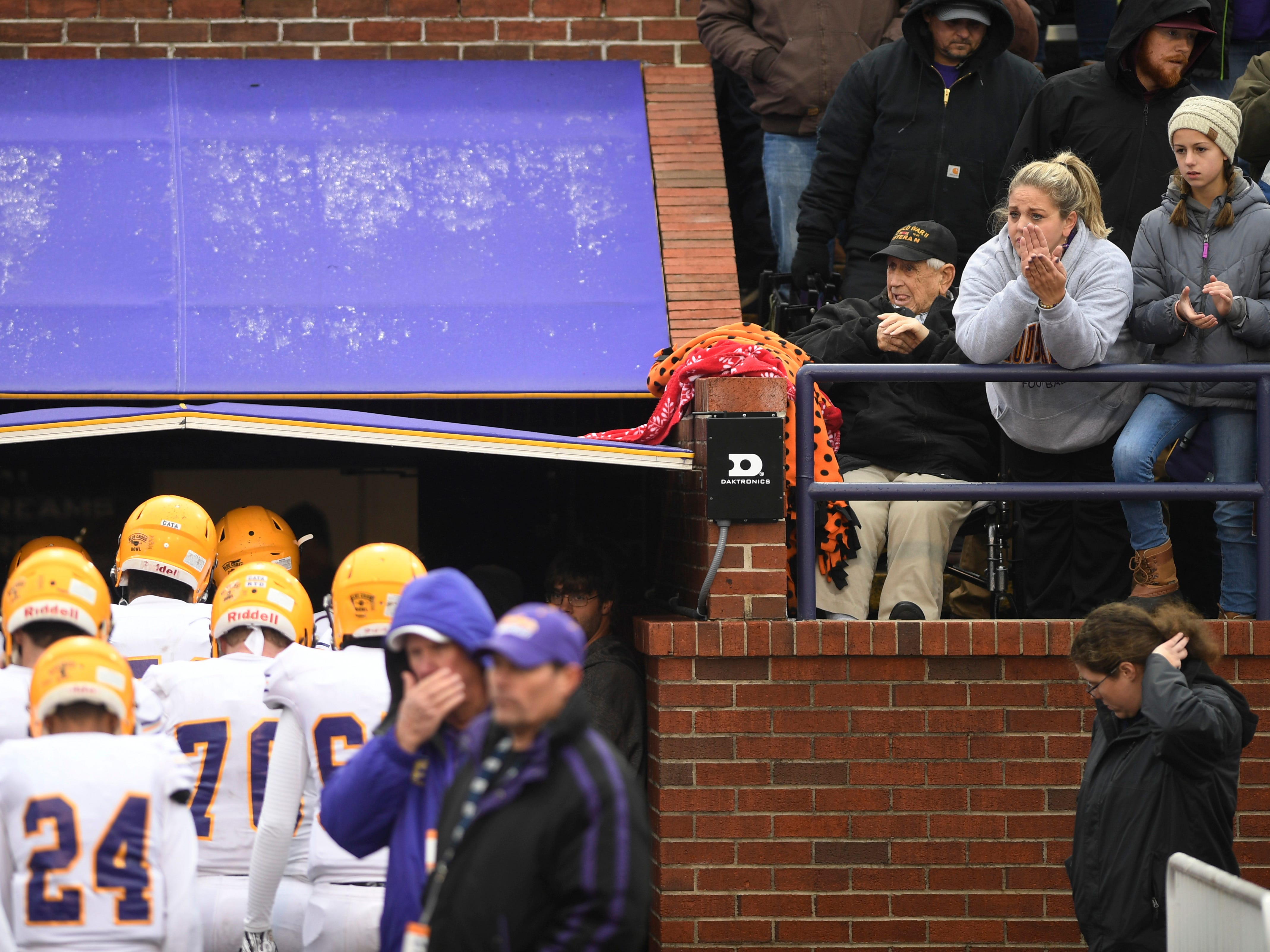 Trousdale fans applaud the team after the Class 2A BlueCross Bowl state championship at Tennessee Tech's Tucker Stadium in Cookeville, Tenn., on Thursday, Nov. 29, 2018.