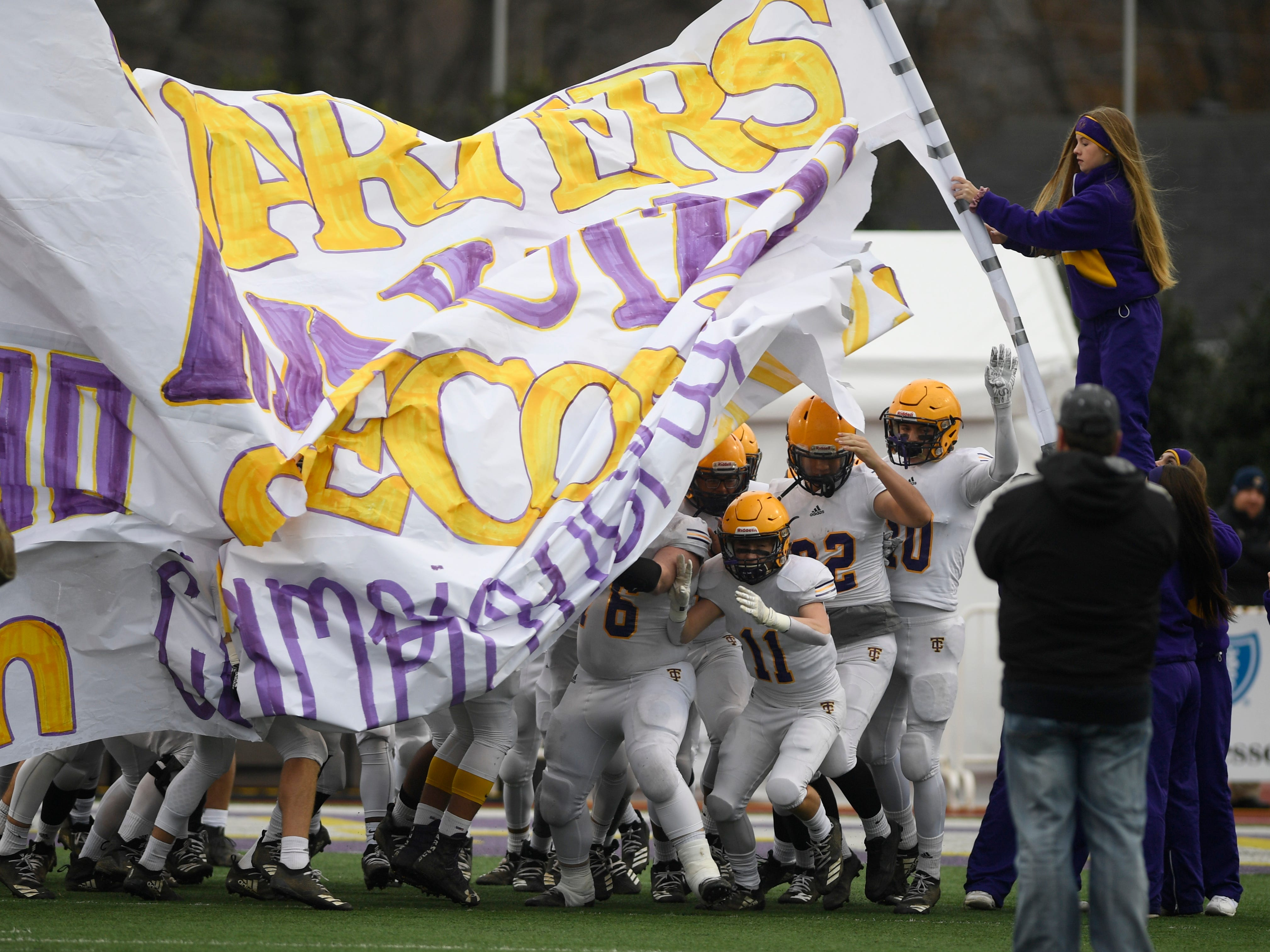 Trousdale County takes the field for the start of the Class 2A BlueCross Bowl state championship at Tennessee Tech's Tucker Stadium in Cookeville, Tenn., on Thursday, Nov. 29, 2018.