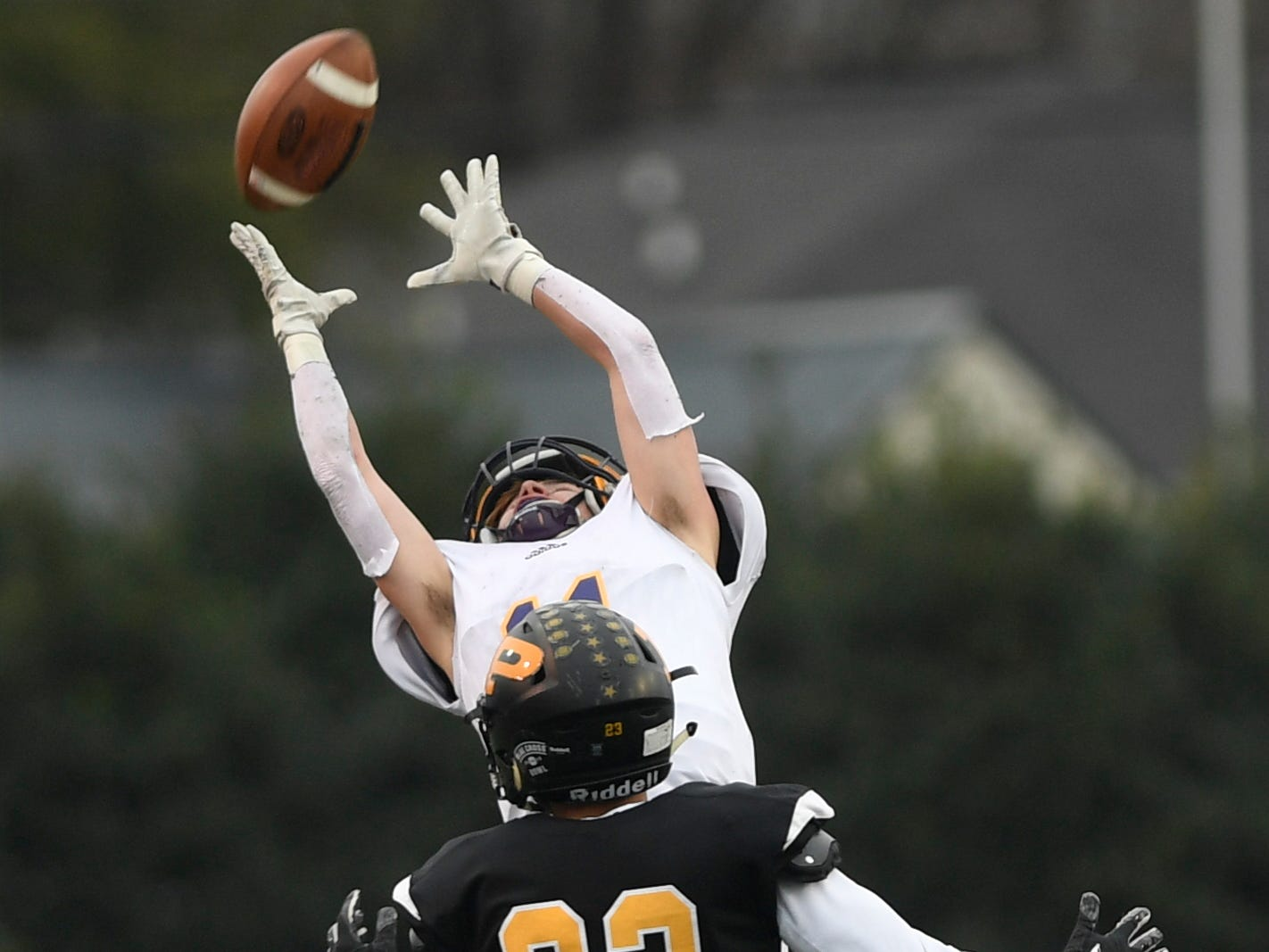 Trousdale's Benjamin Chumley (11) can't quite hang on for the interception in the third quarter during the Class 2A BlueCross Bowl state championship at Tennessee Tech's Tucker Stadium in Cookeville, Tenn., on Thursday, Nov. 29, 2018.