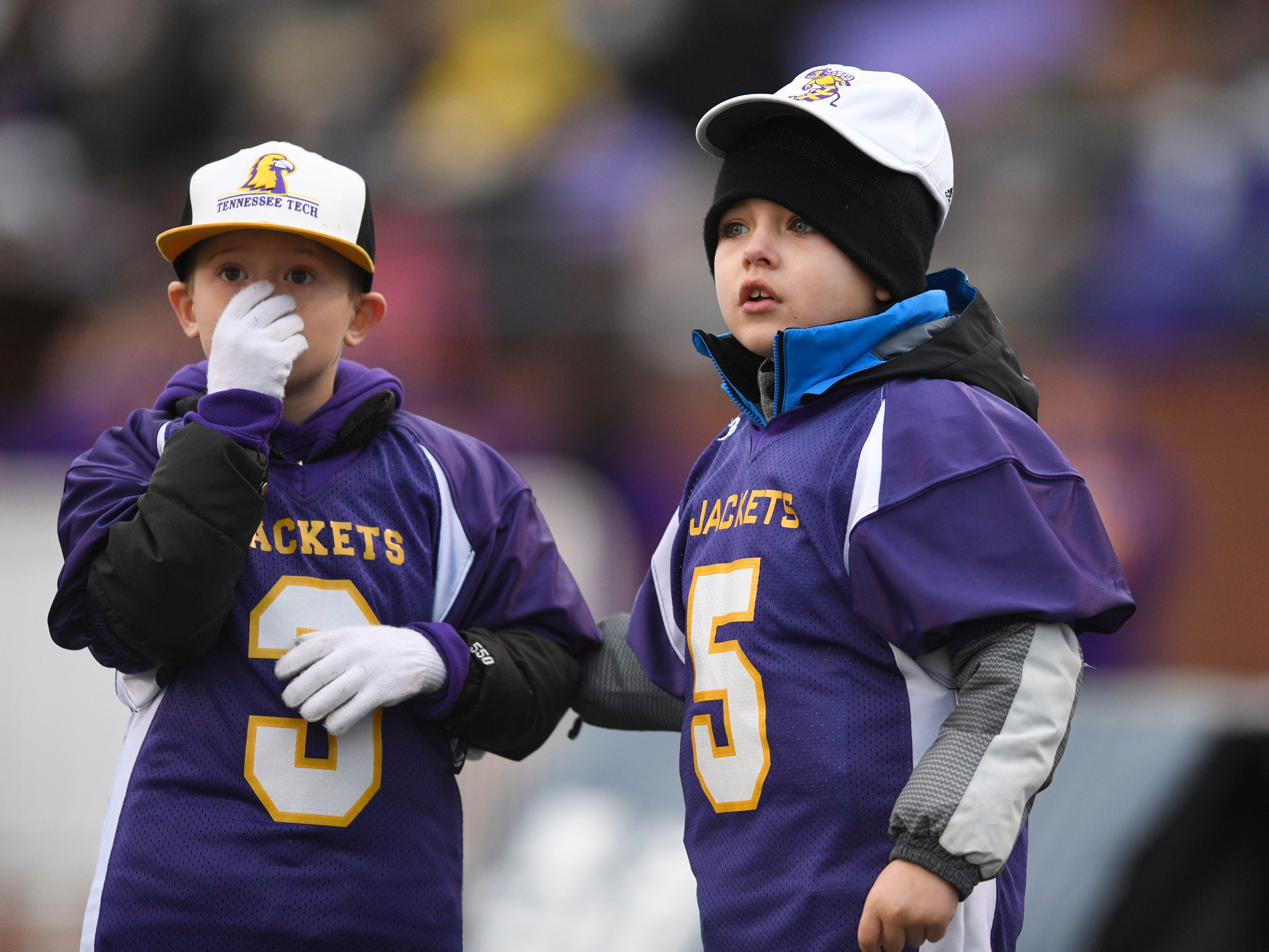 Trousdale fans watch the action in the third quarter during the Class 2A BlueCross Bowl state championship at Tennessee Tech's Tucker Stadium in Cookeville, Tenn., on Thursday, Nov. 29, 2018.