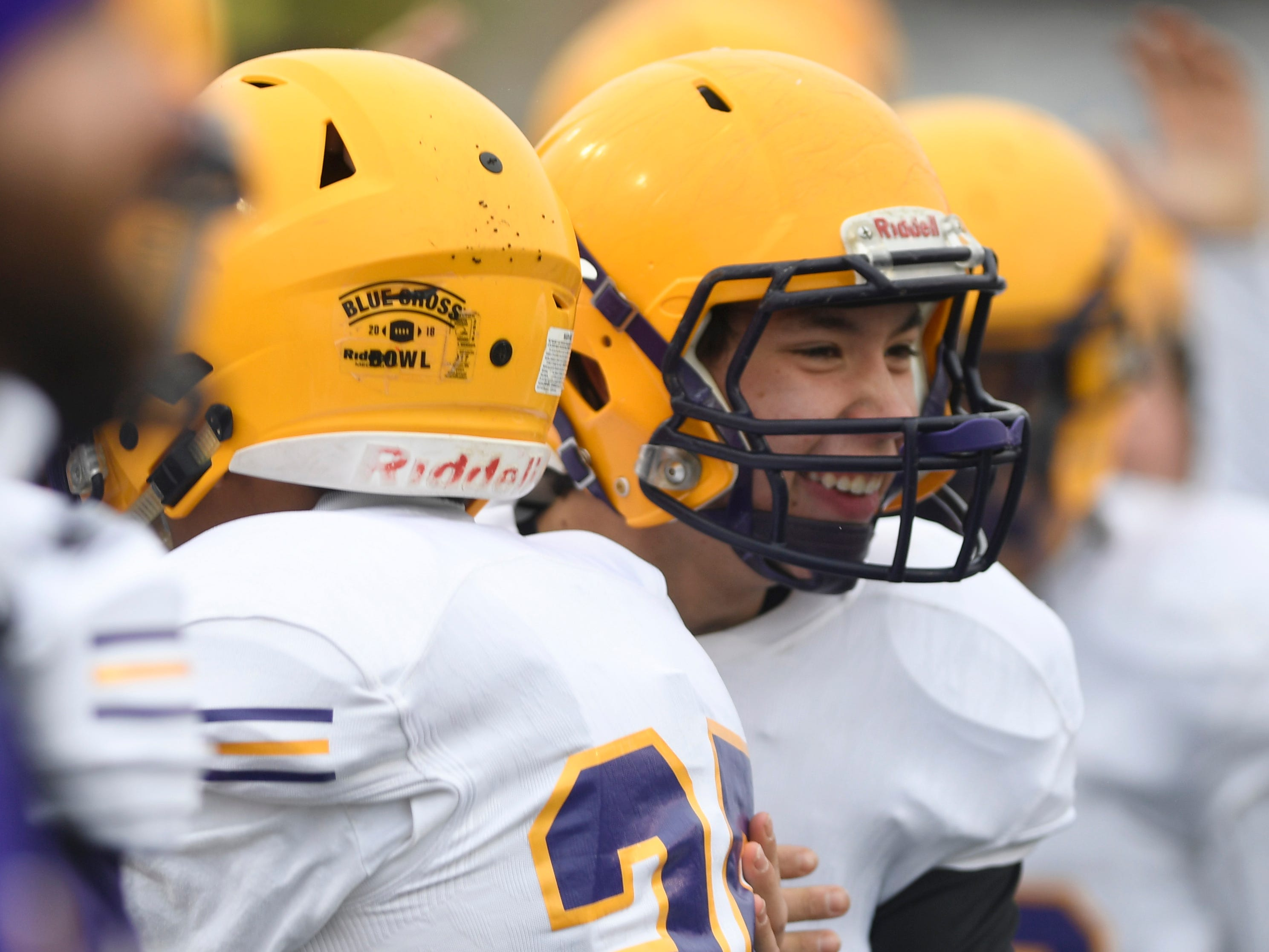 Trousdale's Houston Stafford (23) is congratulated after the team's touchdown during the Class 2A BlueCross Bowl state championship at Tennessee Tech's Tucker Stadium in Cookeville, Tenn., on Thursday, Nov. 29, 2018.