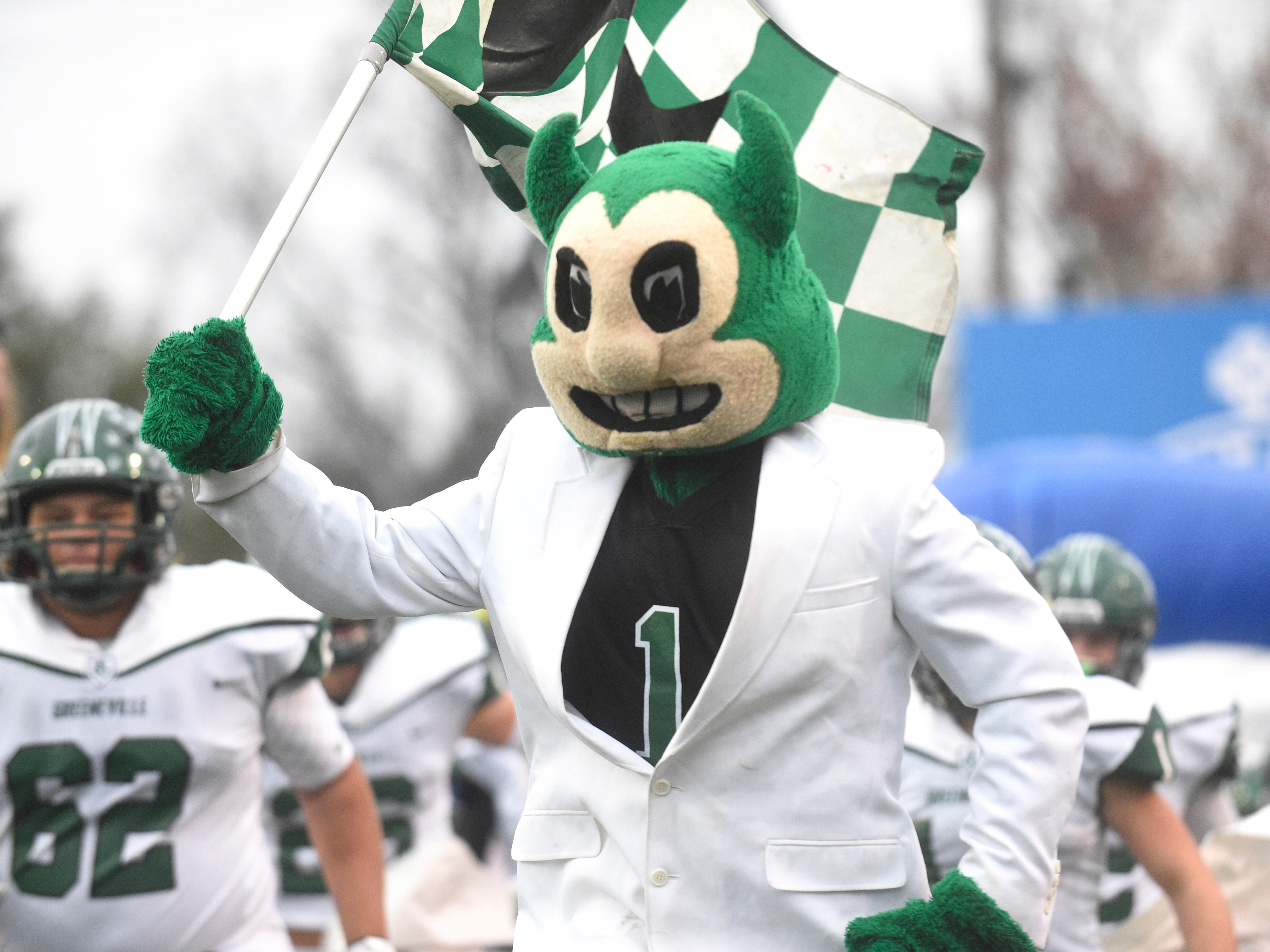 The Greeneville mascot cheers before the Class 4A BlueCross Bowl state championship at Tennessee Tech's Tucker Stadium in Cookeville, Tenn., on Thursday, Nov. 29, 2018.