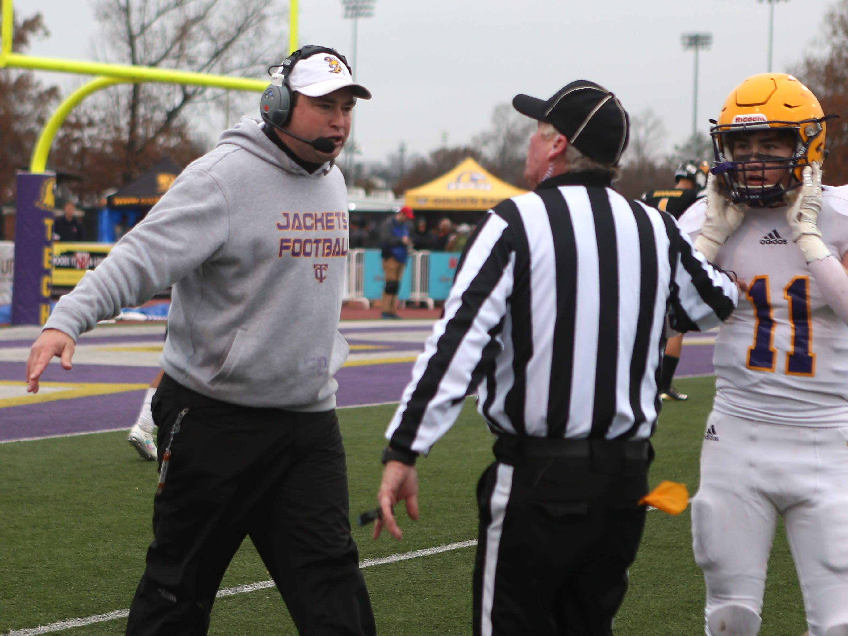 Trousdale head coach Brad Waggoner argues with a referee in the second quarter during the Class 2A BlueCross Bowl state championship at Tennessee Tech's Tucker Stadium in Cookeville, Tenn., on Thursday, Nov. 29, 2018.