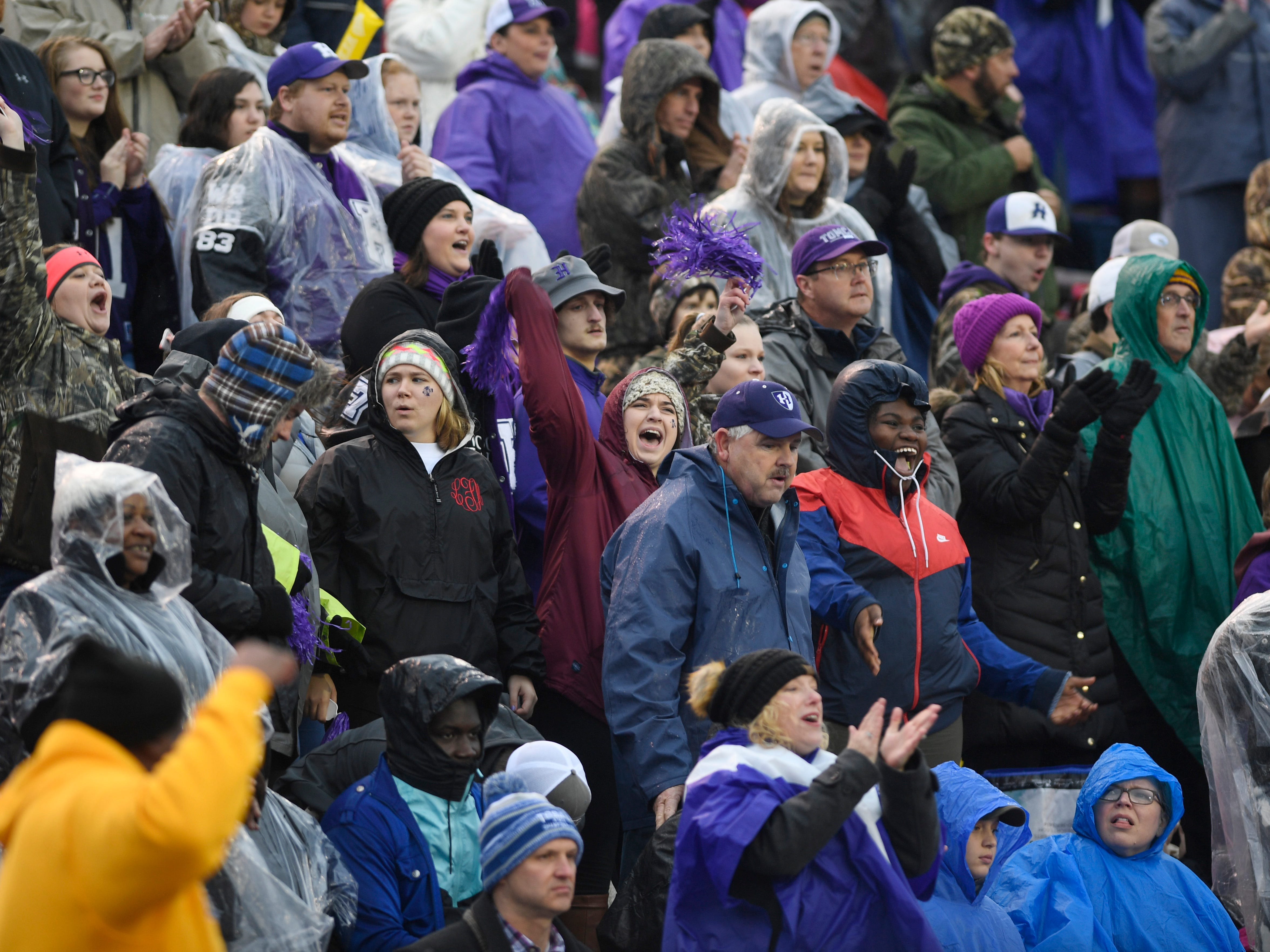 Haywood fans cheer in the first quarter during the Class 4A BlueCross Bowl state championship at Tennessee Tech's Tucker Stadium in Cookeville, Tenn., on Thursday, Nov. 29, 2018.