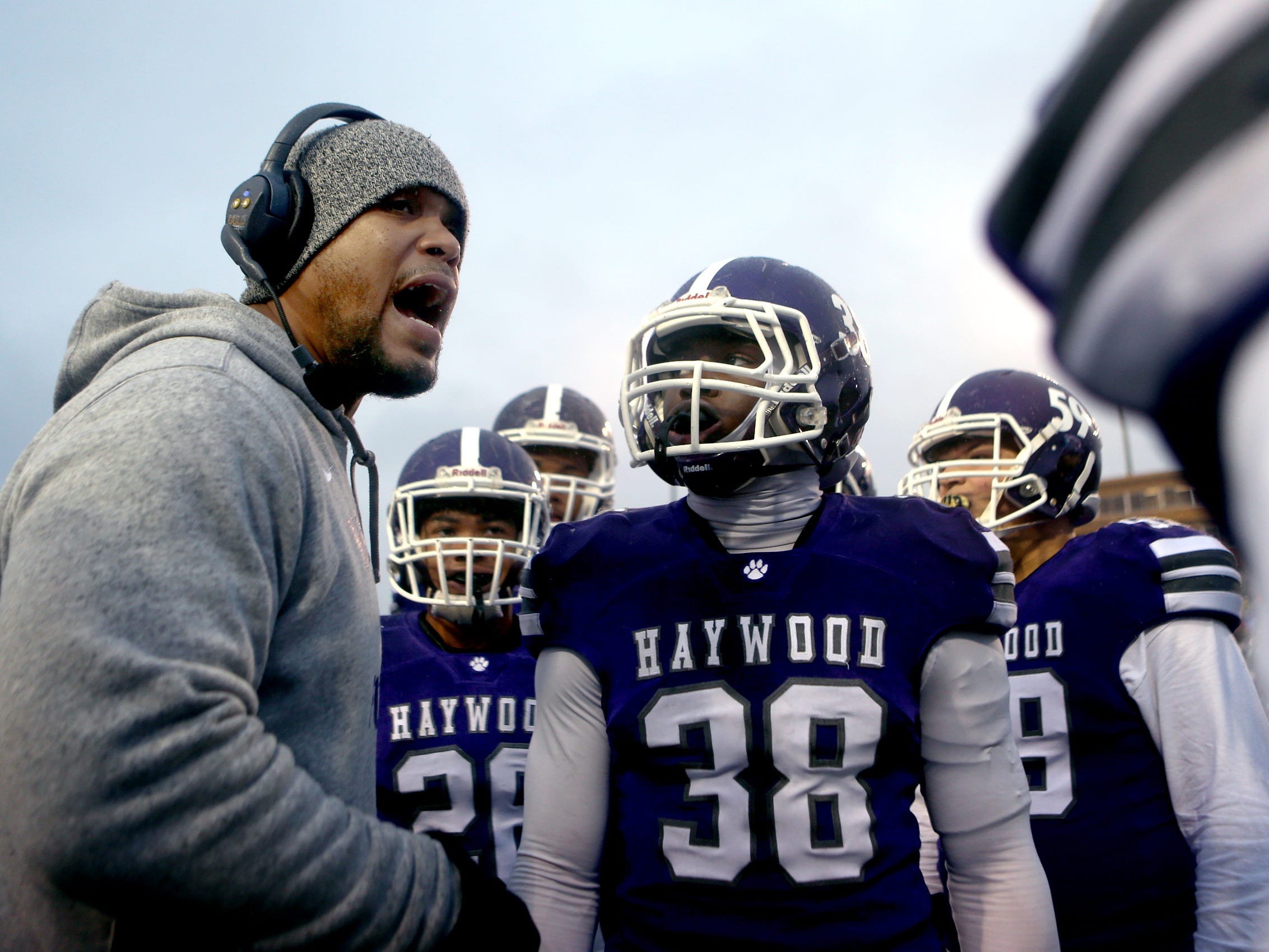 Haywood's head coach Steve Hookfin coaches players on the sidelines during the Class 4A BlueCross Bowl state championship game against Greeneville, Thursday, Nov. 29, 2018, at Tennessee Tech's Tucker Stadium in Cookeville, Tenn.