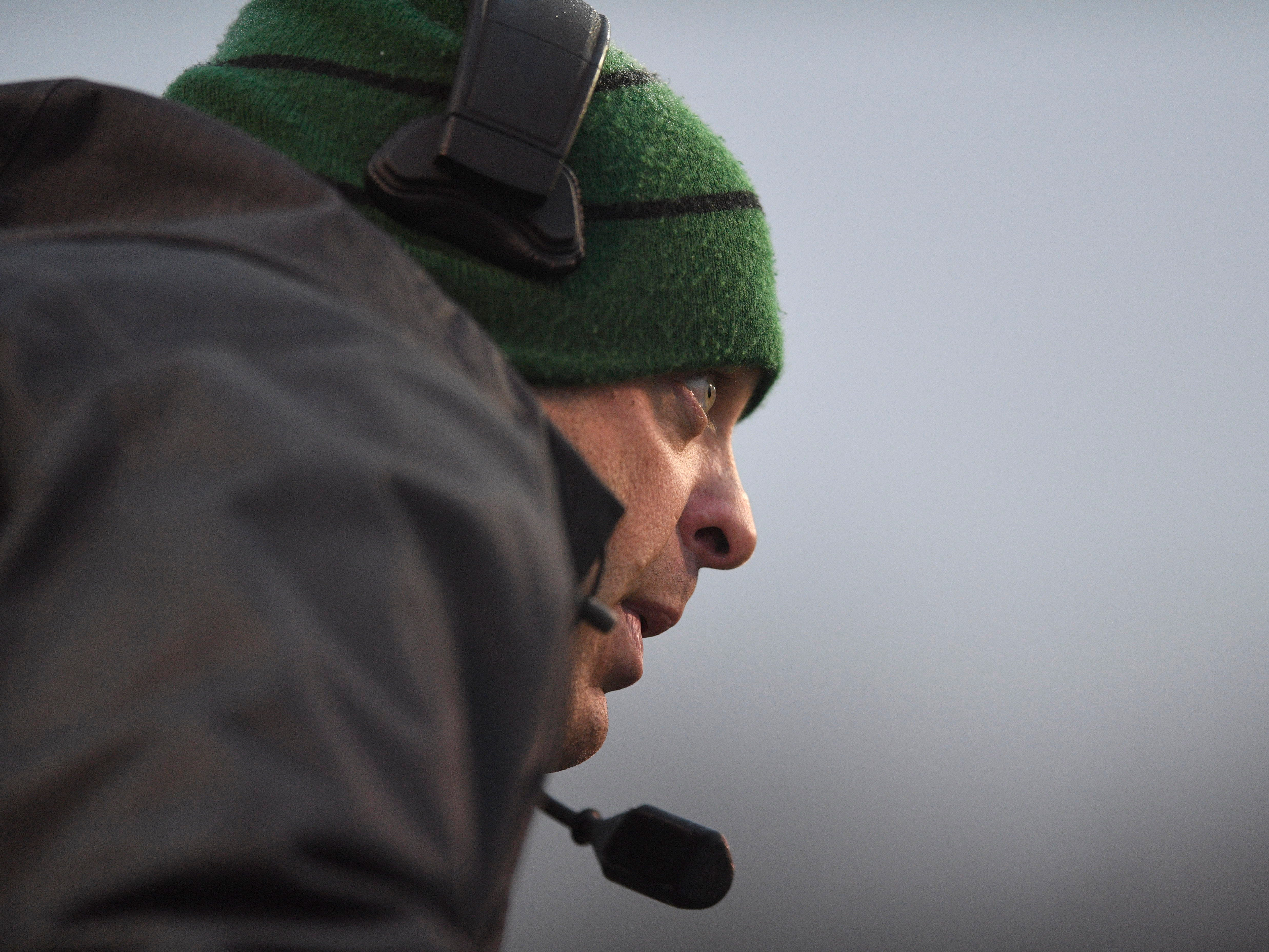 Greeneville Head Coach Caine Ballard watches his team in the first half during the Class 4A BlueCross Bowl state championship at Tennessee Tech's Tucker Stadium in Cookeville, Tenn., on Thursday, Nov. 29, 2018.