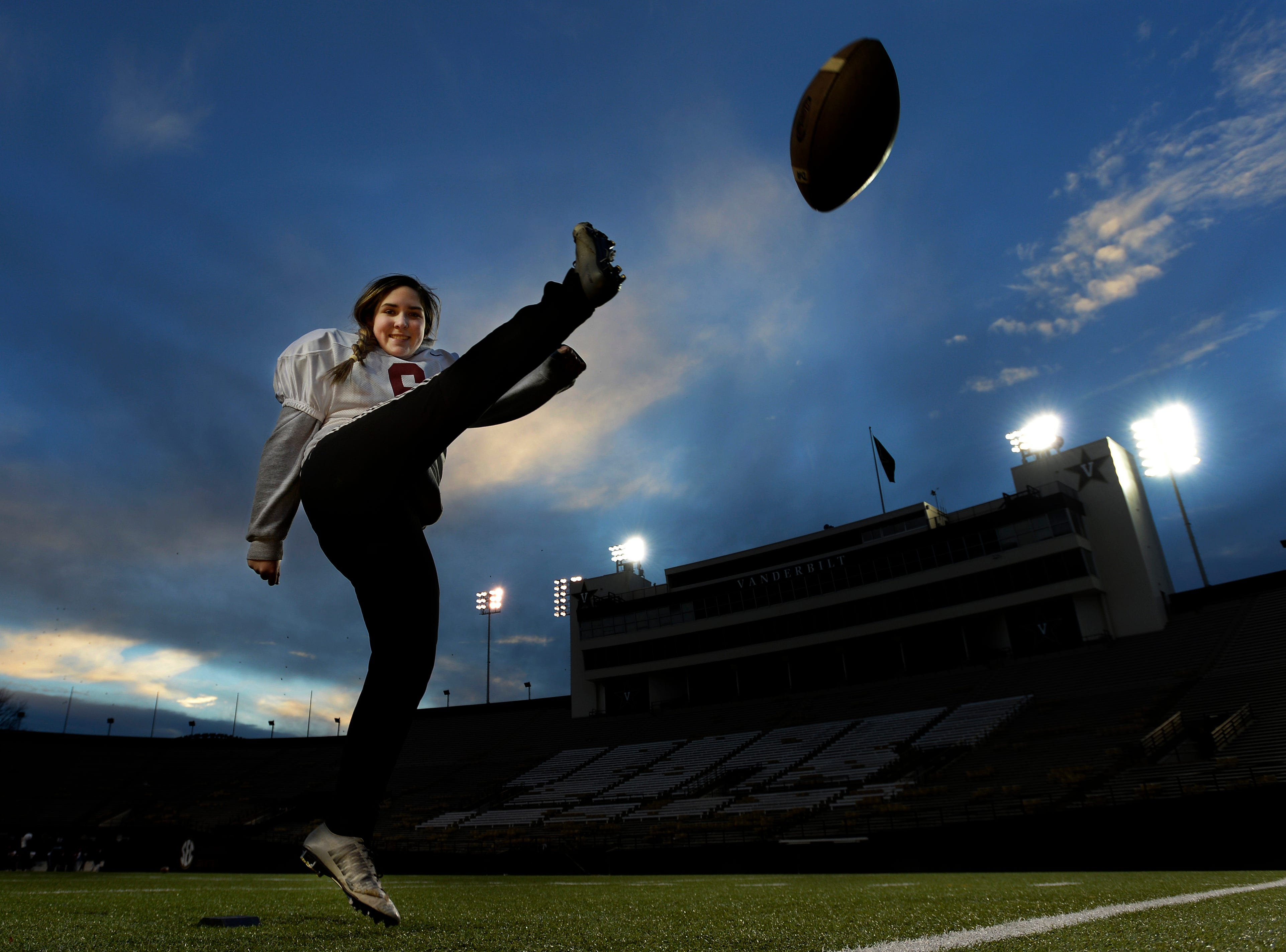 Davidson Academy kicker Lauren Brooks works on her technique kicking field goals during practice at the Vanderbilt Stadium on Wednesday, Nov. 28, 2018, in Nashville, Tenn. Brooks could be the first female kicker to score a point in a TSSAA state championship game either by kicking a field goal or PAT.