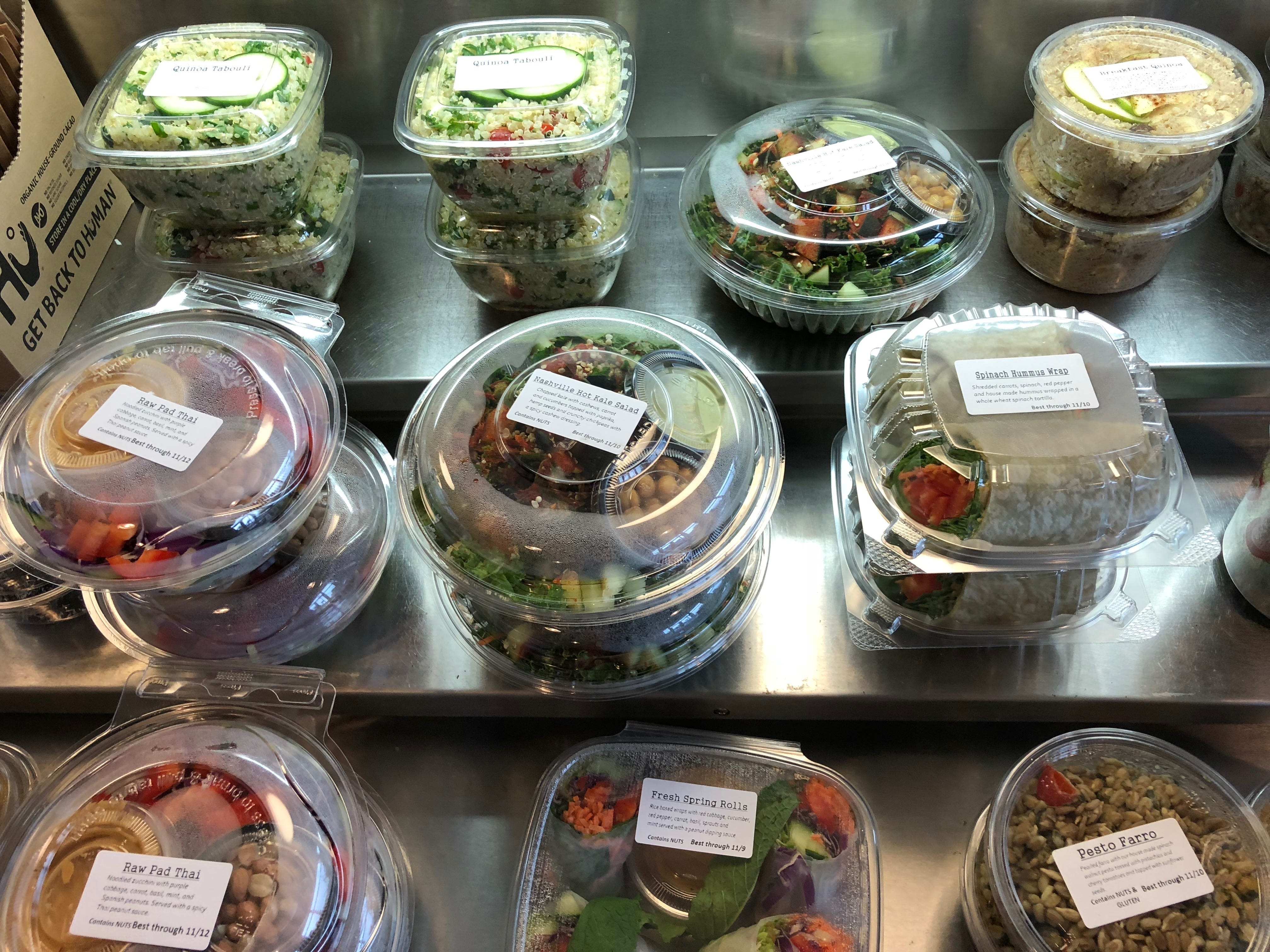 The grab-and-go case at E + Rose has salads, wraps and sides pre-made and ready for those wanting to eat healthy on the run.