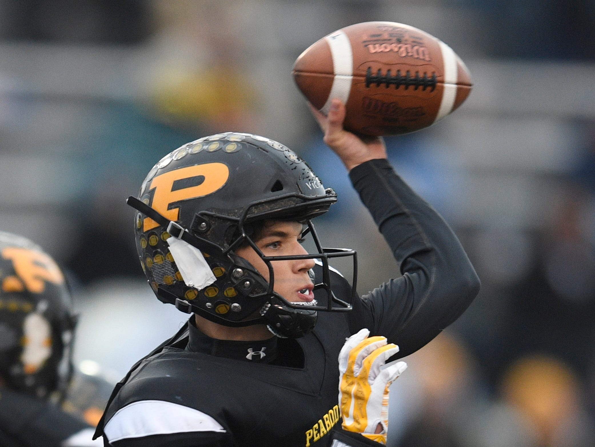 Peabody's Cooper Baugus (3), the game MVP, passes in the third quarter during the Class 2A BlueCross Bowl state championship at Tennessee Tech's Tucker Stadium in Cookeville, Tenn., on Thursday, Nov. 29, 2018.