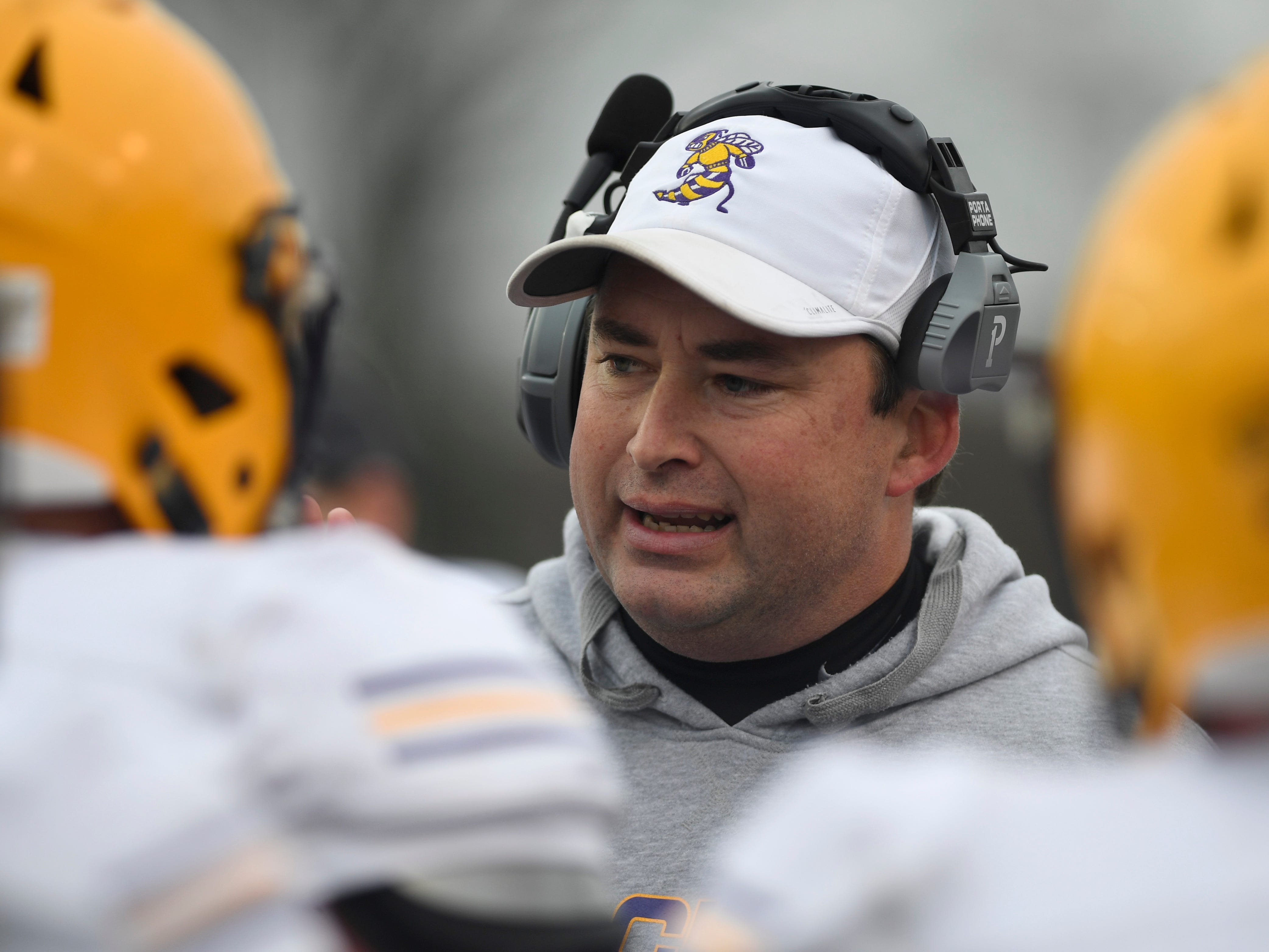 Trousdale head coach Brad Waggoner instructs his team during the Class 2A BlueCross Bowl state championship at Tennessee Tech's Tucker Stadium in Cookeville, Tenn., on Thursday, Nov. 29, 2018.