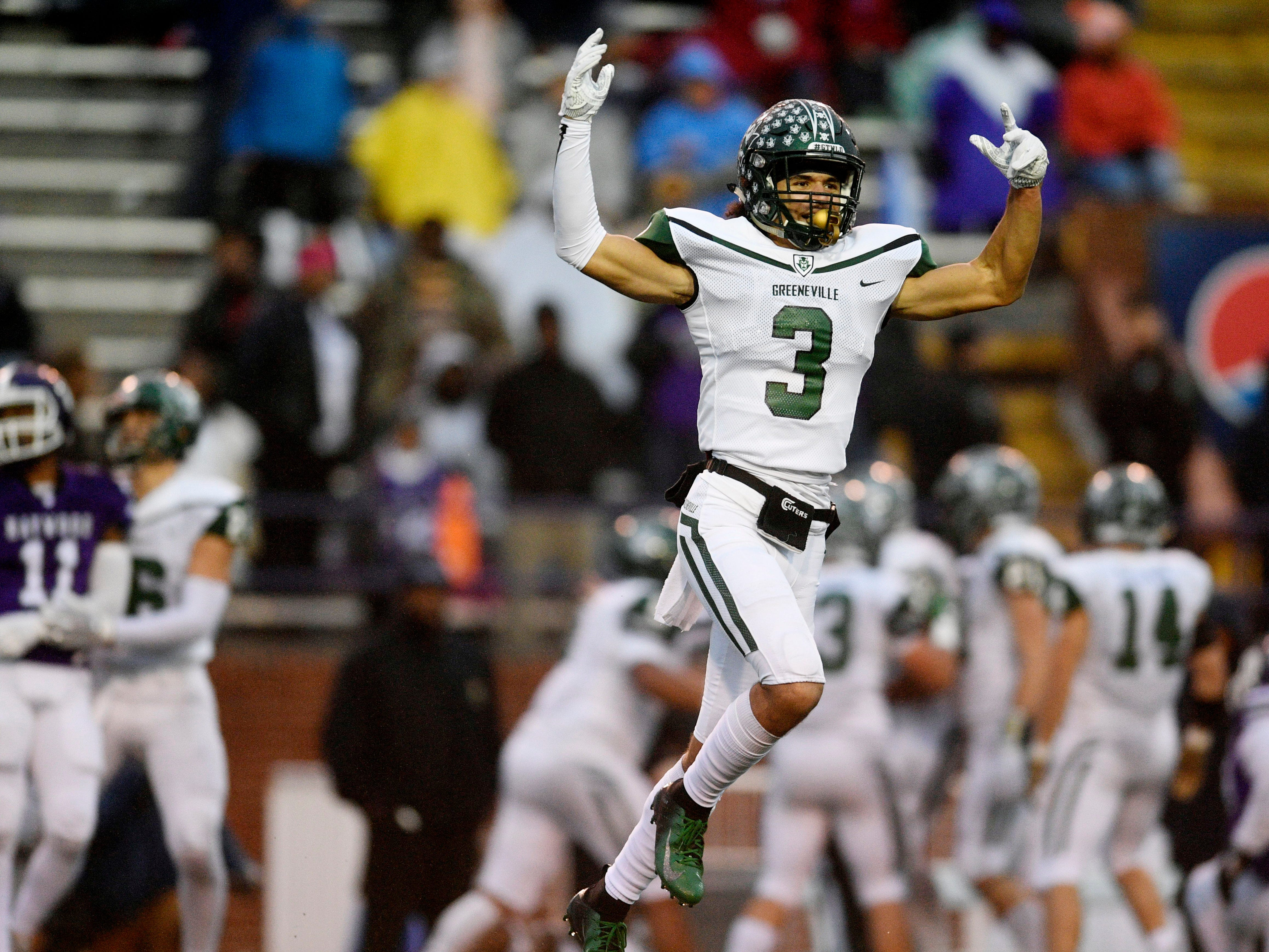 Greeneville's Jordan Gillespie (3) celebrates after a fumble recovery in the first half of the Class 4A BlueCross Bowl state championship at Tennessee Tech's Tucker Stadium in Cookeville, Tenn., on Thursday, Nov. 29, 2018.