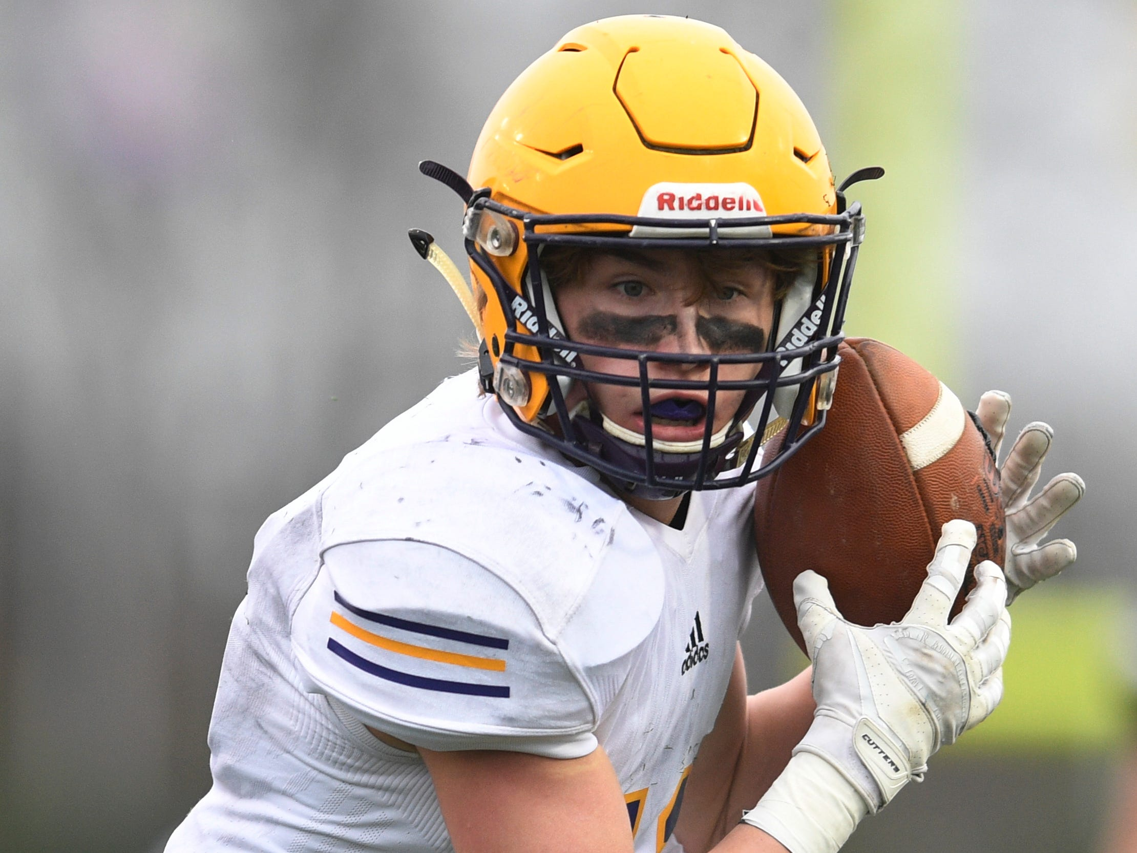 Trousdale's Benjamin Chumley (11) makes a catch in the third quarter during the Class 2A BlueCross Bowl state championship at Tennessee Tech's Tucker Stadium in Cookeville, Tenn., on Thursday, Nov. 29, 2018.