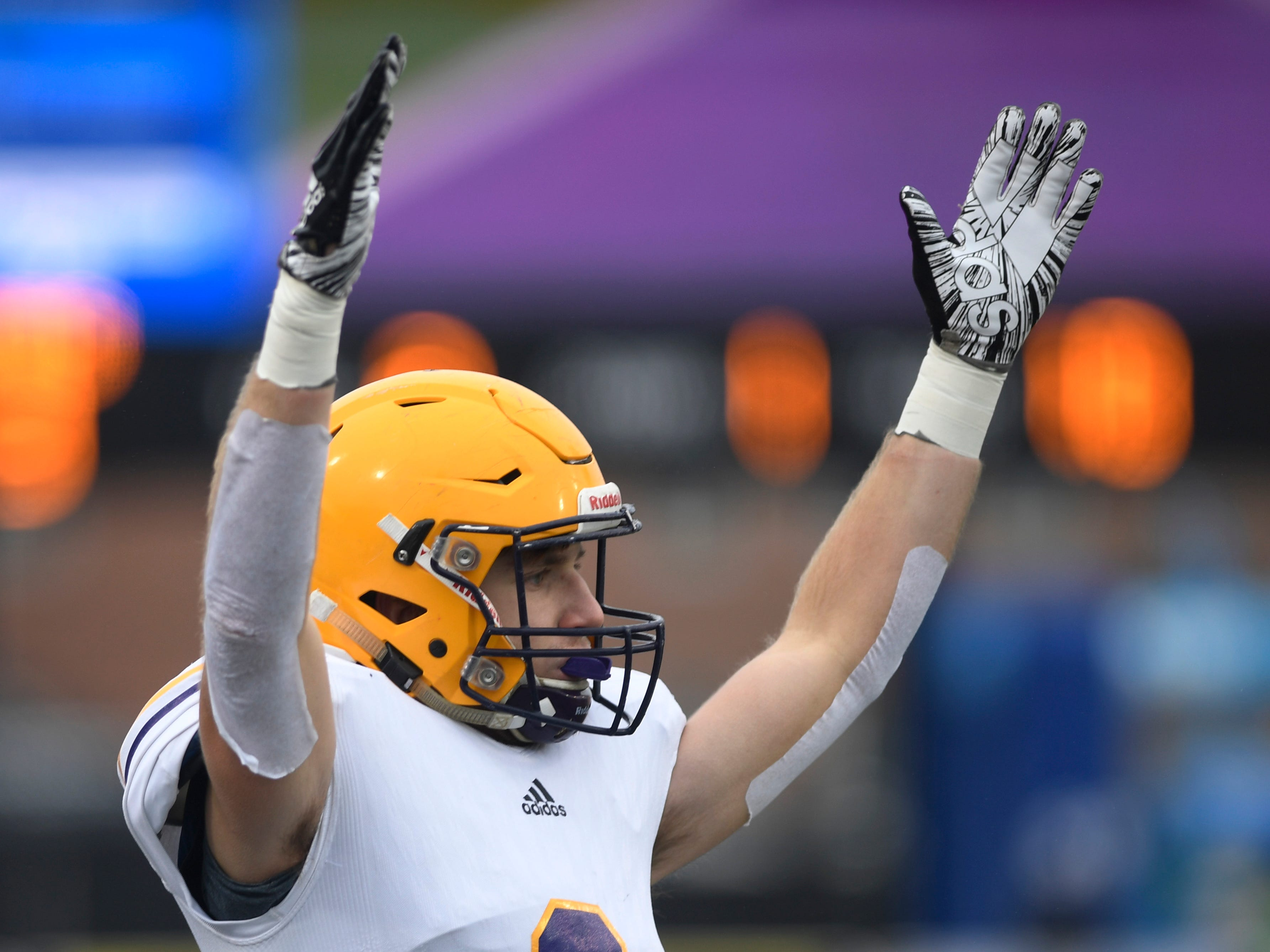 Trousdale's Will Holder (9) celebrates the team's touchdown in the second quarter of the Class 2A BlueCross Bowl state championship at Tennessee Tech's Tucker Stadium in Cookeville, Tenn., on Thursday, Nov. 29, 2018.