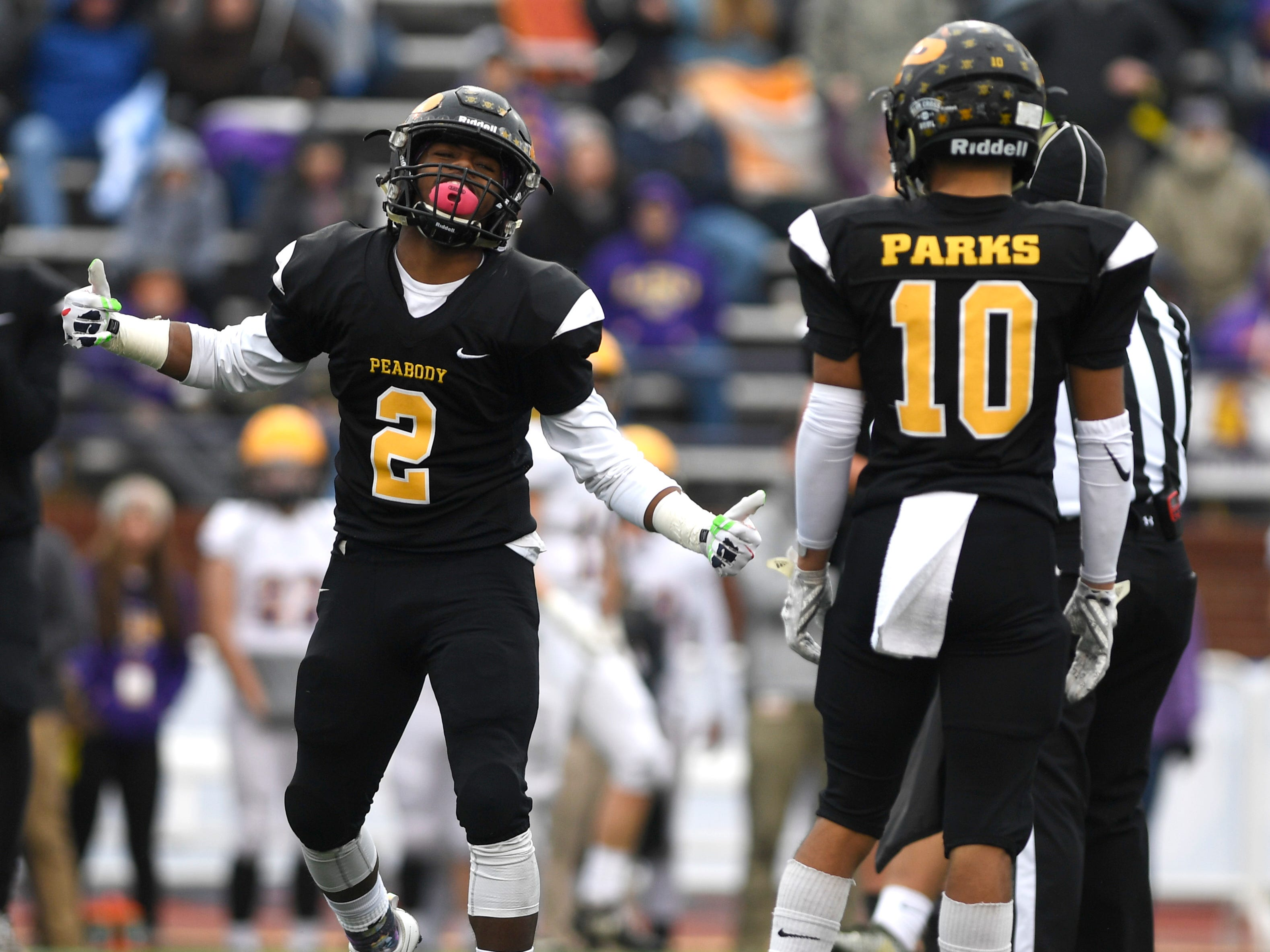 Peabody's Courtlen Wade (2) reacts to missing an interception in the second quarter during the Class 2A BlueCross Bowl state championship at Tennessee Tech's Tucker Stadium in Cookeville, Tenn., on Thursday, Nov. 29, 2018.