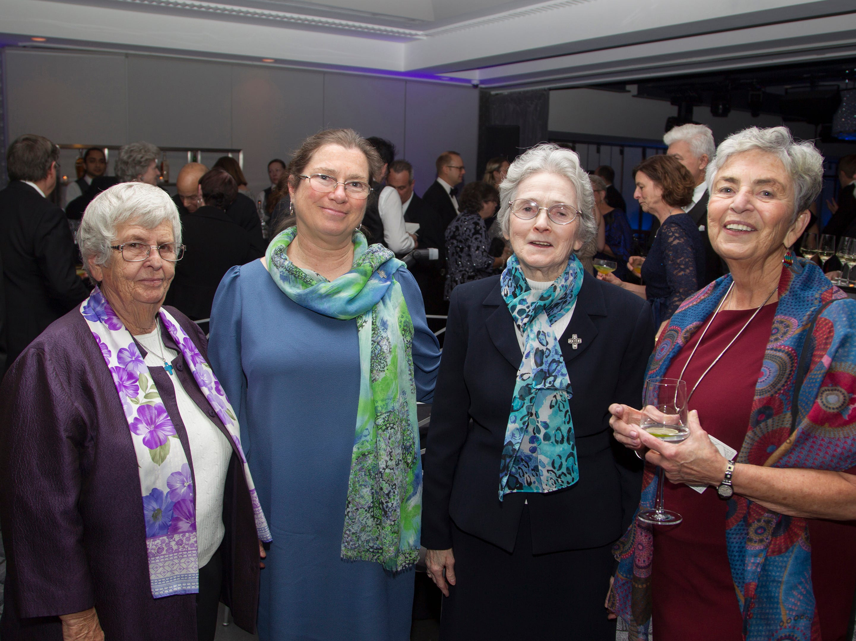 Sister Barbara Moran, Sister Mindy McDonald, Sister Breda Boyle, and Sister Maureen D'Auria . Holy Name Medical Center held its 2018 Founders Ball in NYC at Ziegfeld Ballroom. 11/17/2018