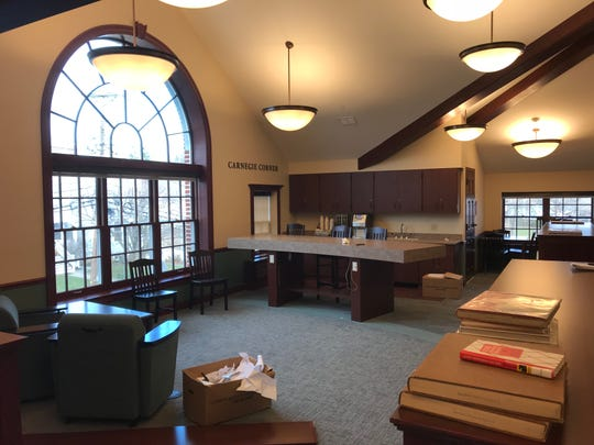 The Verona Public Library's new Carnegie Corner offers a quiet place to read and enjoy coffee.