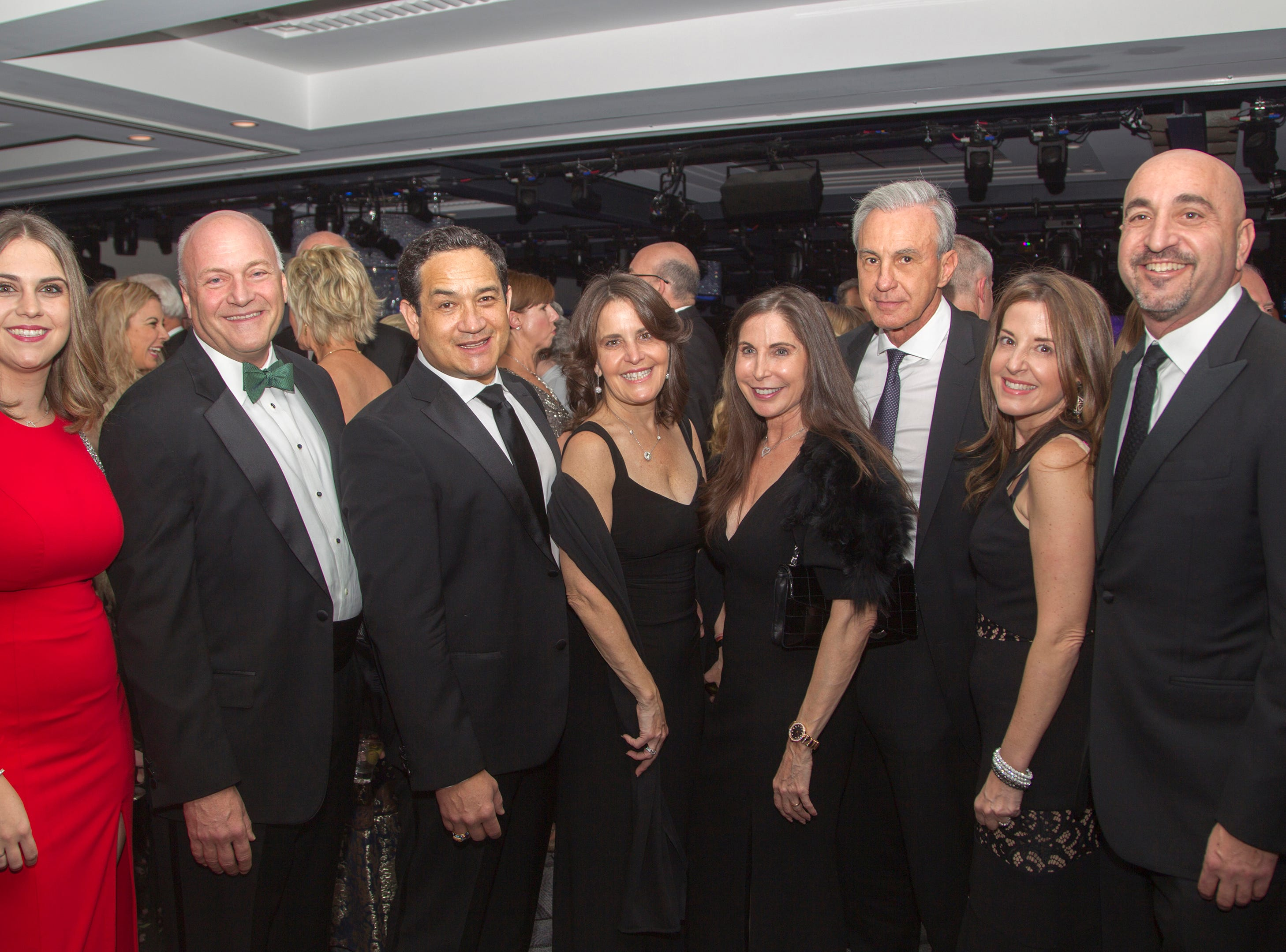 Courtney McVicar, Michael Maron, Gerino Casal, Maribel Unanue, Mimi Unanue, Jose Guggenheim, Marie Unanue, Andy Unanue. Holy Name Medical Center held its 2018 Founders Ball in NYC at Ziegfeld Ballroom. 11/17/2018