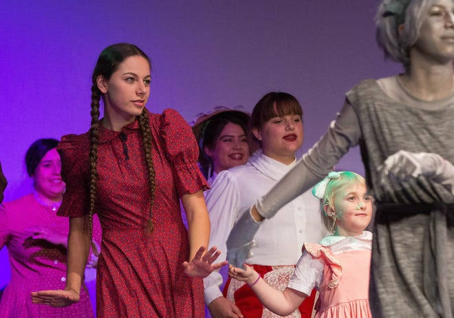 Zoe Ayon, performing in the Las Cruces Community Theaters production of Mary Poppins, Wednesday November 28, 2018.