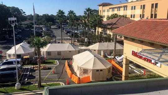 Base of Operations set up in the parking lot of the Ft. Walton Beach Medical Center in Ft. Walton Beach, Florida.