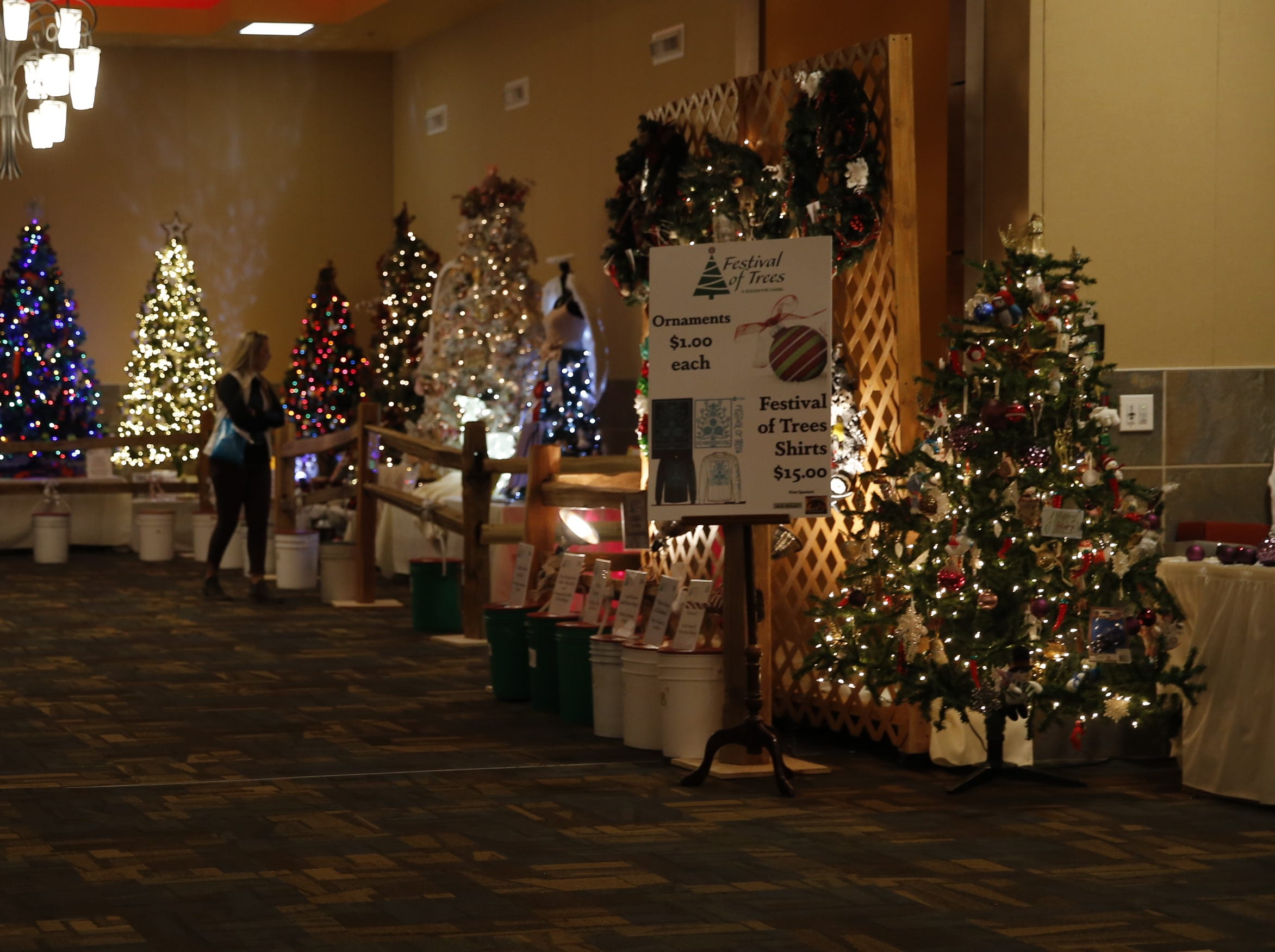Hazel Jackson looks at trees, Wednesday, Nov. 28, 2018, on the first day of Festival of Trees at the Farmington Civic Center.