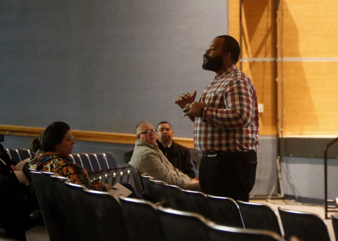 Parents and school district officials attended a meeting, Tuesday, Nov. 27, 2018, to learn about the Say Something Anonymous Reporting System at Bloomfield High School.