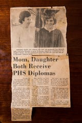 Mildred Davis received her high school diploma at the same time as daughter Beverly, back in the early 1970s, from Plymouth High School.