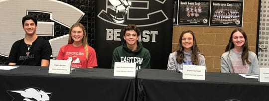 South Lyon East's student-athletes who signed national letters of intent included (left to right) Anthony Aloisio, Sohpia Bolden, Logan Bursick-Harrington, Emma Loveland  and Summer McEvers.