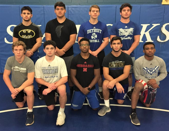 Returning to the mat for defending Division 1 team champion Detroit CC are returning state champs, state placers and stat qualifiers (front row, from left) Derek Gilcher, Cameron Amine, Kevin Davenport, Joe Urso, Joshua Edmond; (back row, from left) Logan Sanom, Steven Kolcheff, Easton Turner and Brendin Yatooma. (Not pictured is Dominck Lomazzo).