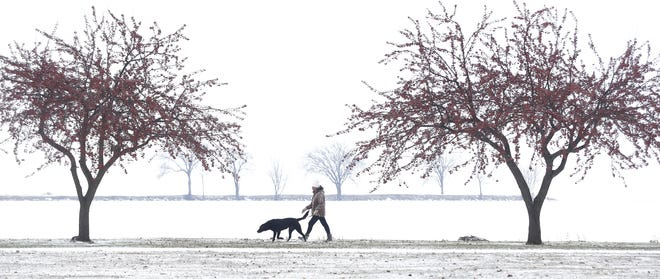 Betty Schnyder of Oshkosh walks her dog Sarge on the north end of Menominee Park.  An inch of snow fell on the area leaving roads slippery and sidewalks and driveways snow covered in Oshkosh, Wis., Thursday, November 29, 2018. Joe Sienkiewicz/USA Today NETWORK-Wisconsin