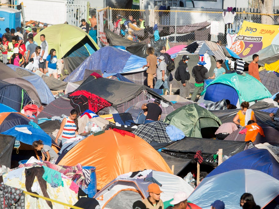 The Benito Juarez sports complex shelter had a maximum capacity of housing 3000 and is currently housing 5851 migrants inside the sports complex turned shelter in the city of Tijuana, Mexico on November 27, 2018. The conditions have reached a crisis and the city has declared it a humanitarian crisis.
