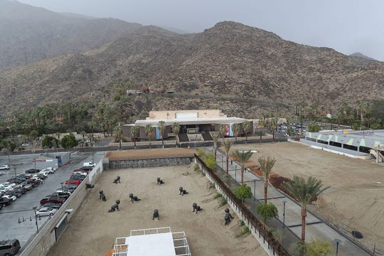 Rain comes down in downtown Palm Springs as seen from the Kimpton Rowan Hotel, November 29, 2018.