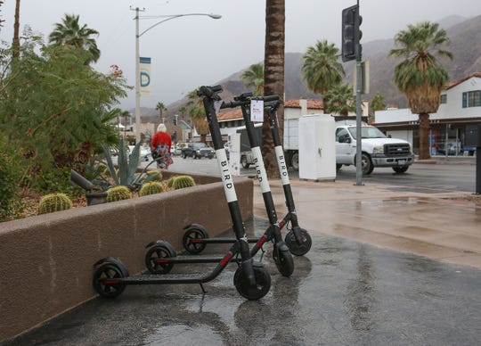 Bird scooters showed up today for the first time scatttered throughout downtown Palm Springs, November 29, 2018.